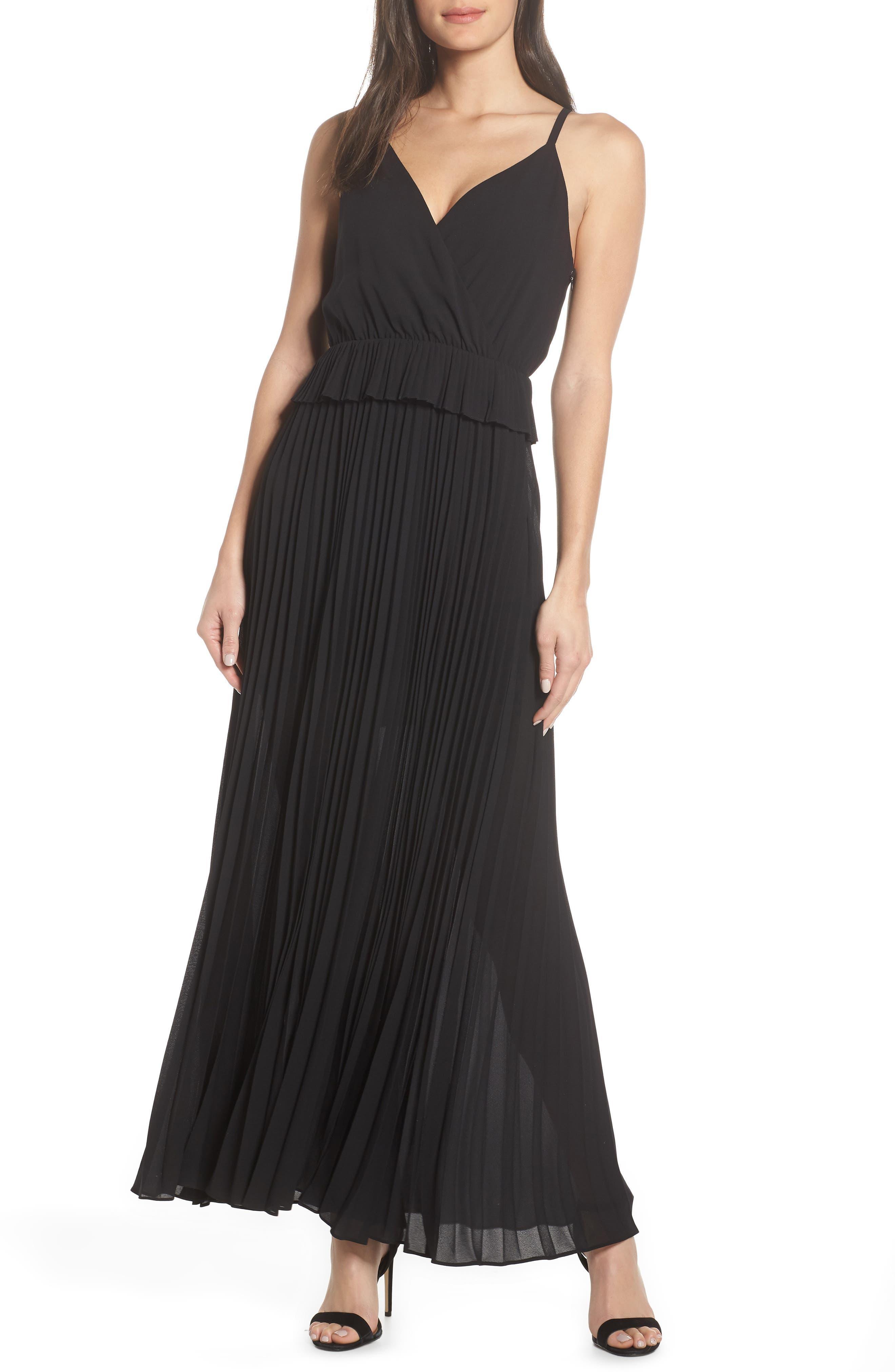 Ali & Jay Olivet Pleated Maxi Dress, Black
