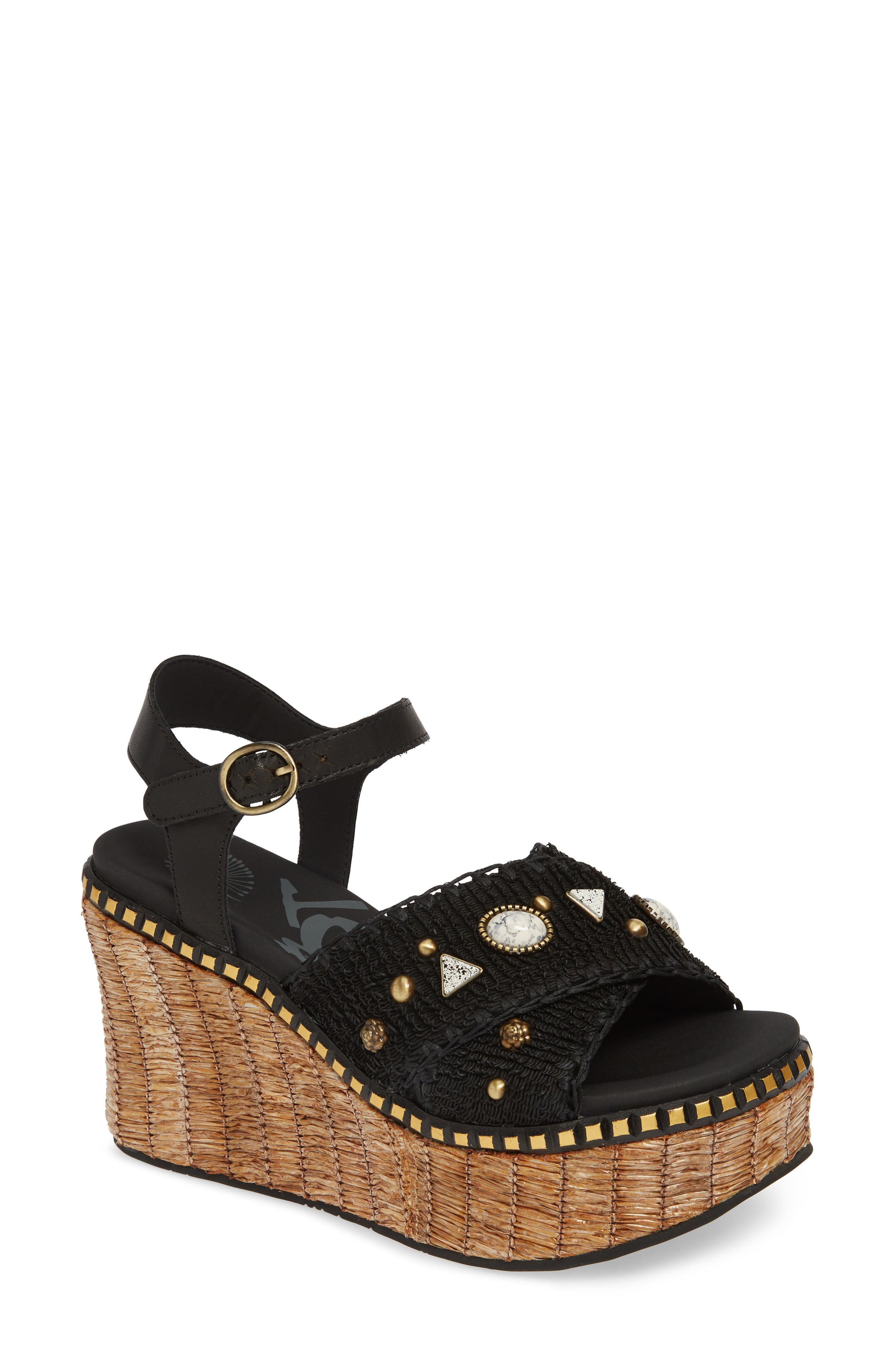Cahoot Embellished Platform Wedge Sandal, Main, color, BLACK LEATHER