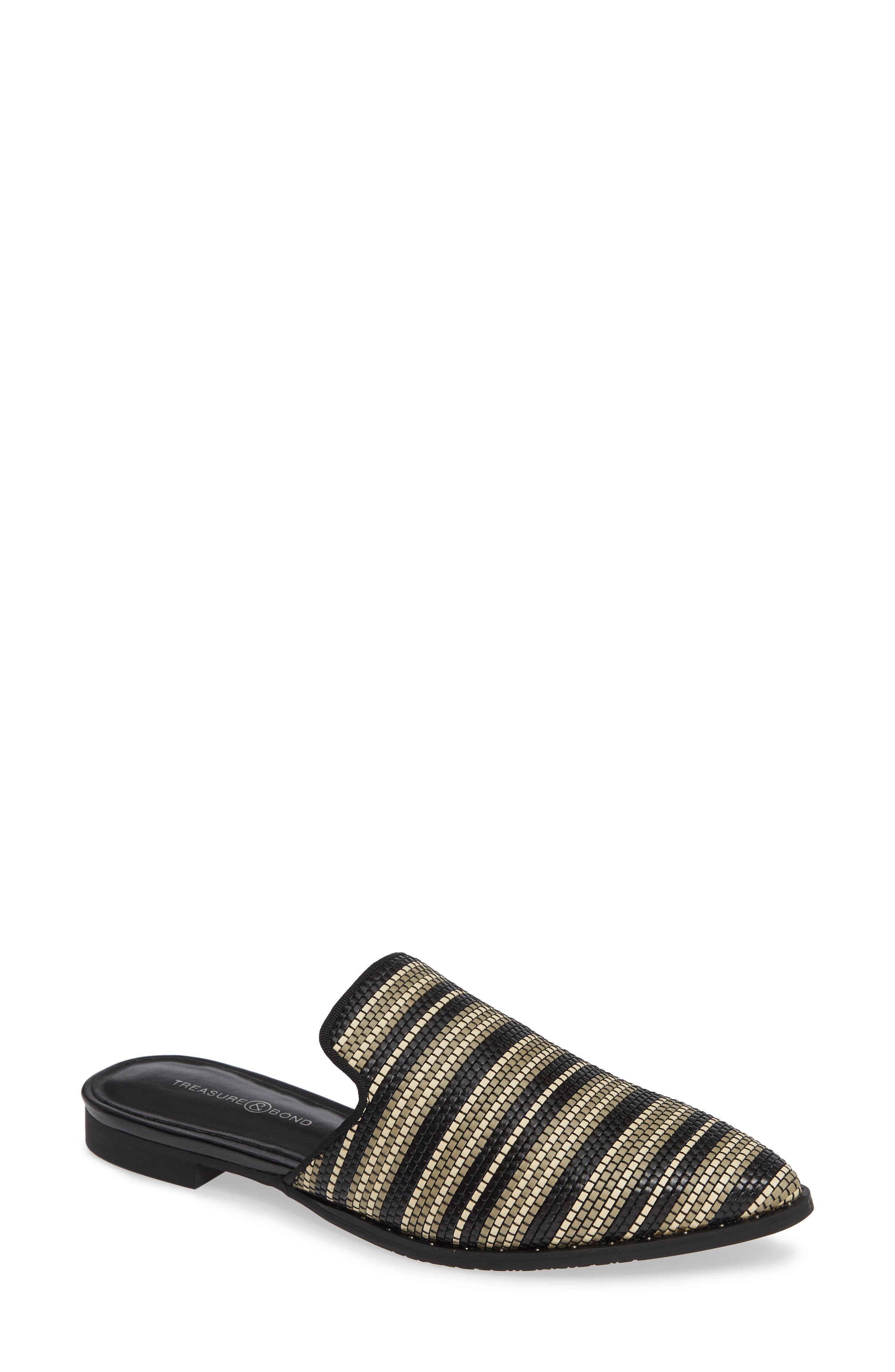 Keaton Loafer Mule,                         Main,                         color, BLACK WOVEN FAUX LEATHER