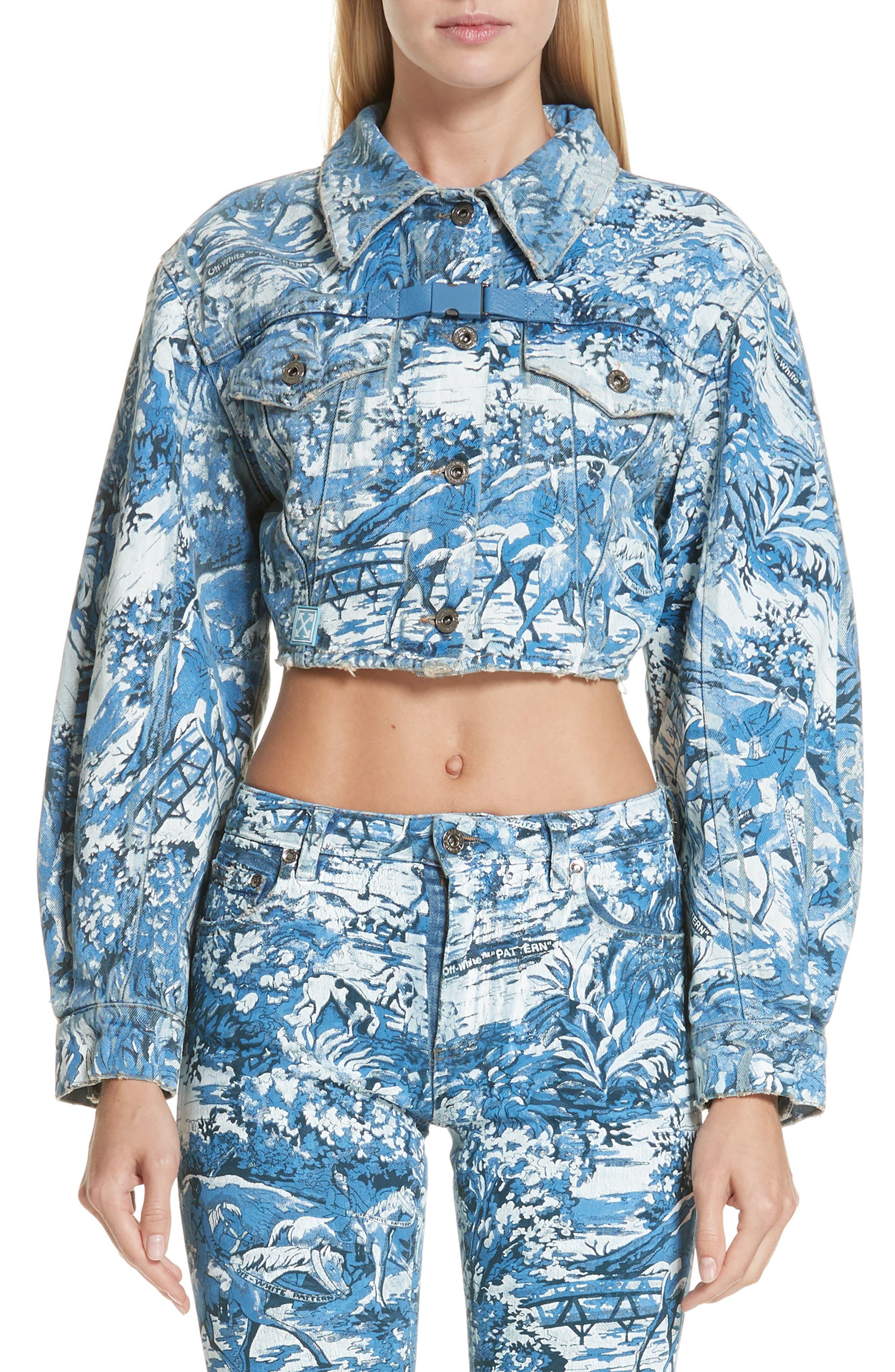 Tapestry Print Crop Denim Jacket,                         Main,                         color, MEDIUM BLUE