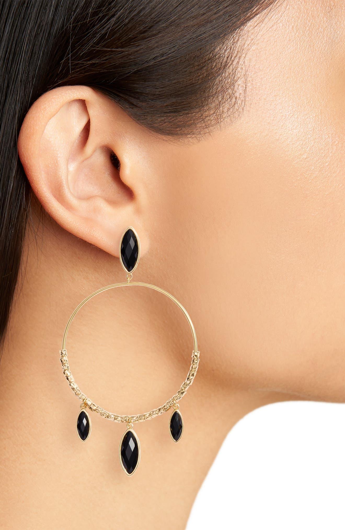 Palisades Drop Hoop Earrings,                             Alternate thumbnail 2, color,                             001