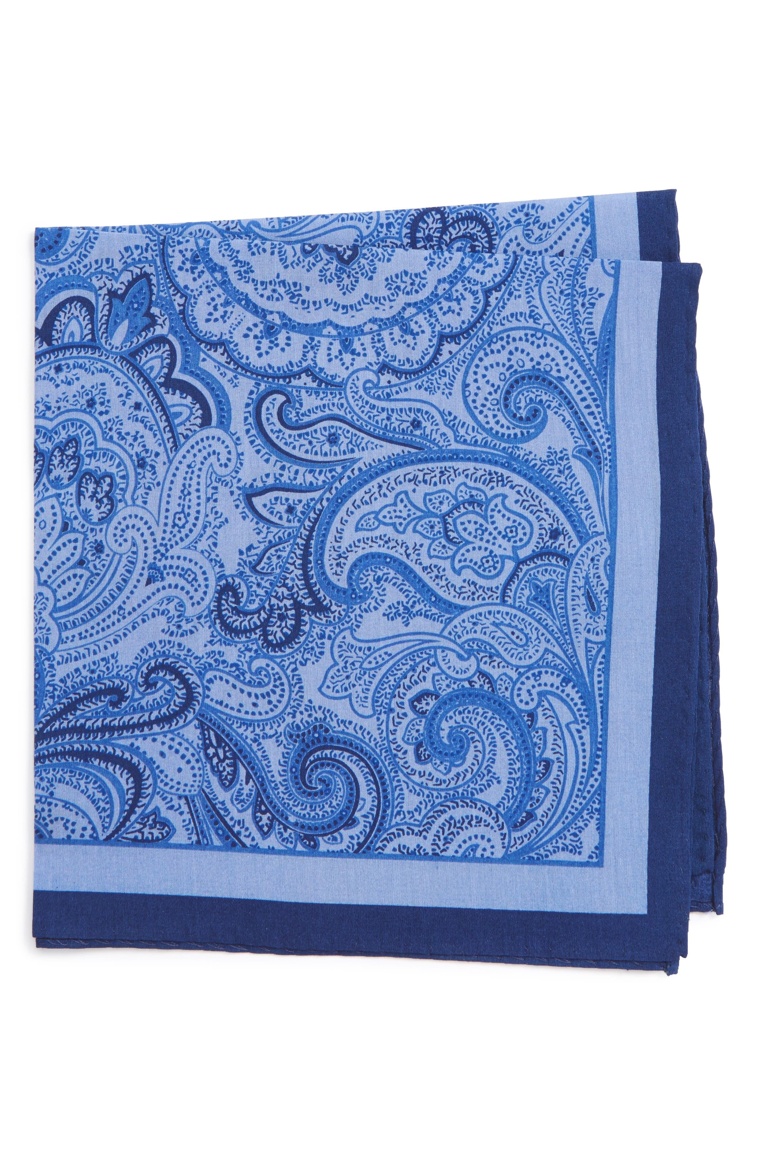 CALIBRATE,                             Paisley Cotton & Silk Pocket Square,                             Main thumbnail 1, color,                             467