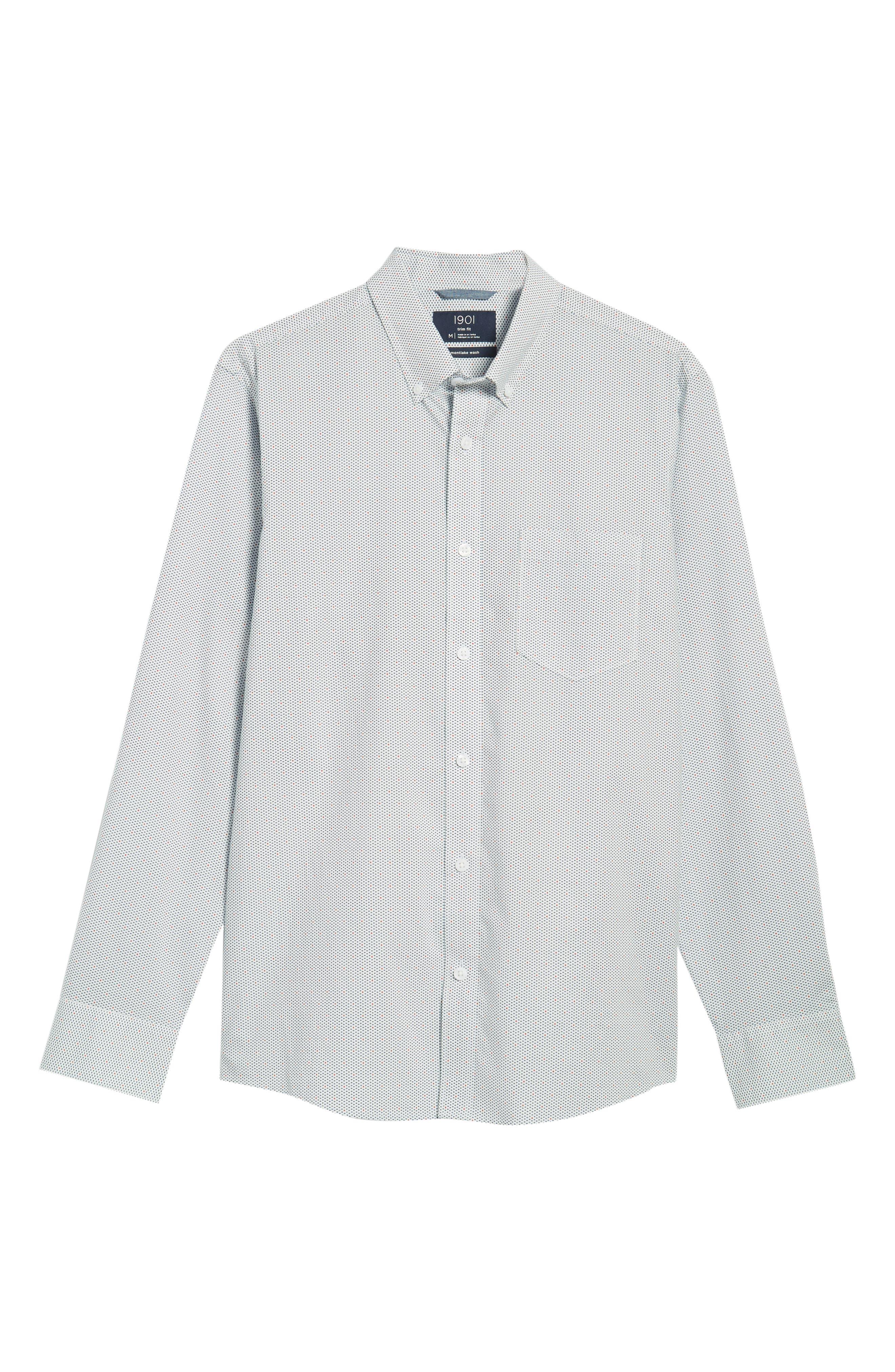 Trim Fit Multi Dot Sport Shirt,                             Alternate thumbnail 6, color,                             100