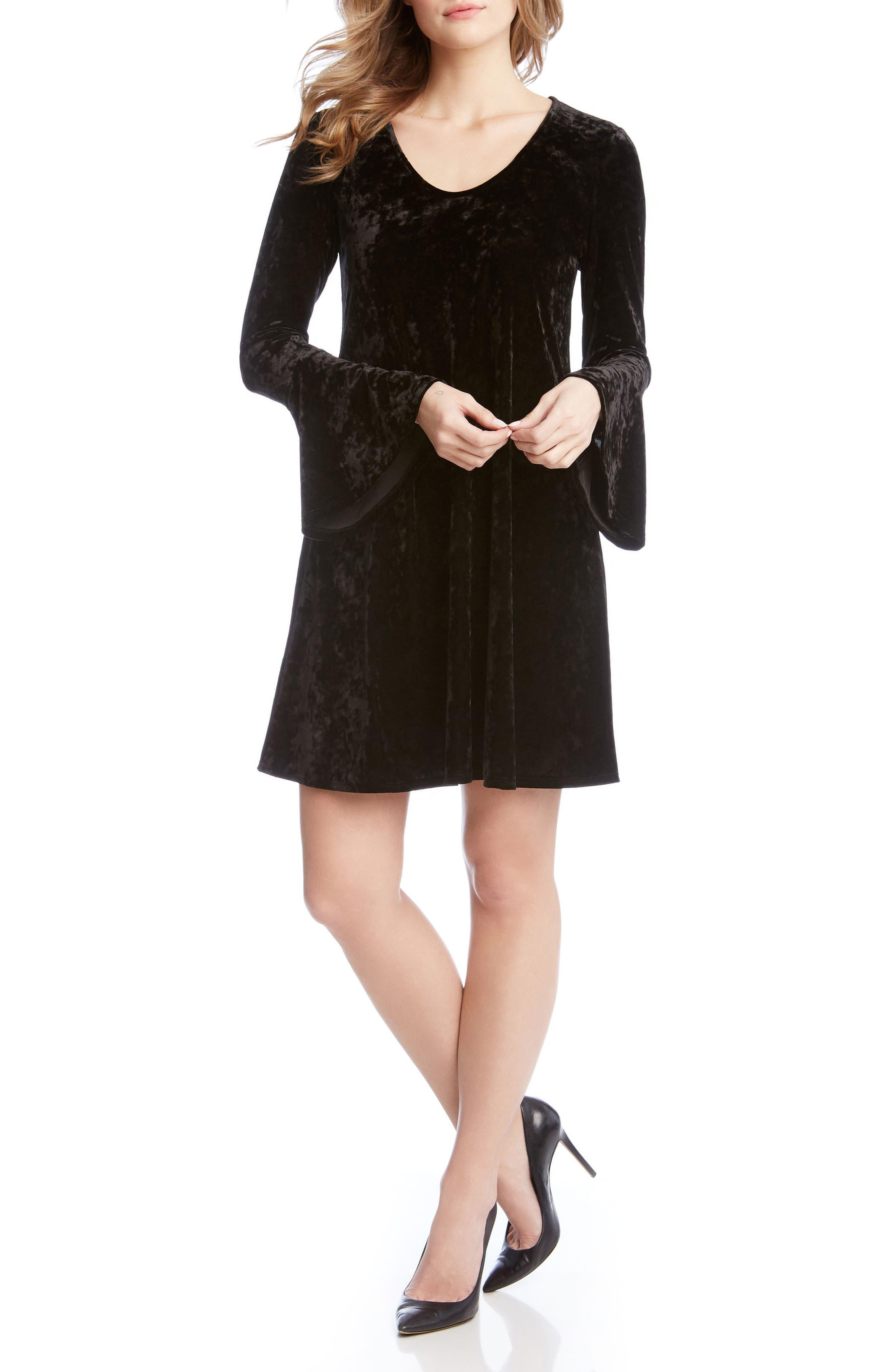 Bell Sleeve Velvet Dress,                         Main,                         color, 001