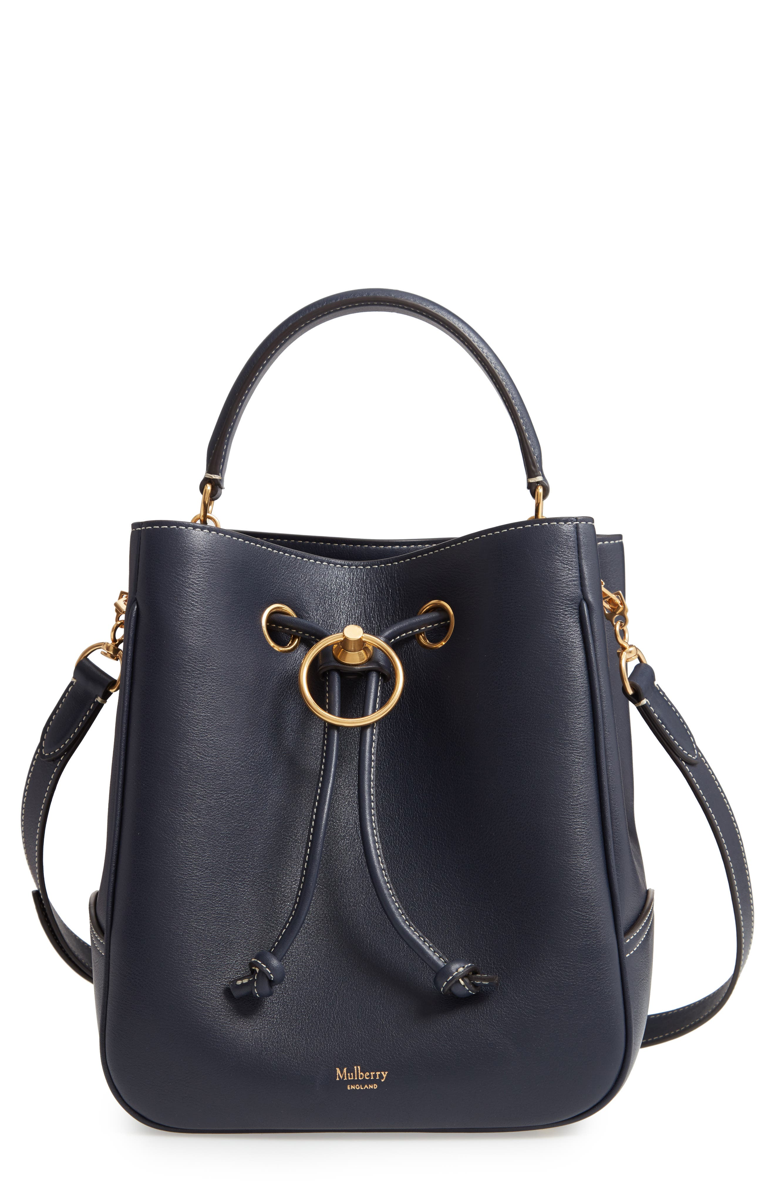 MULBERRY,                             Hampstead Silky Calfskin Leather Bucket Bag,                             Main thumbnail 1, color,                             MIDNIGHT