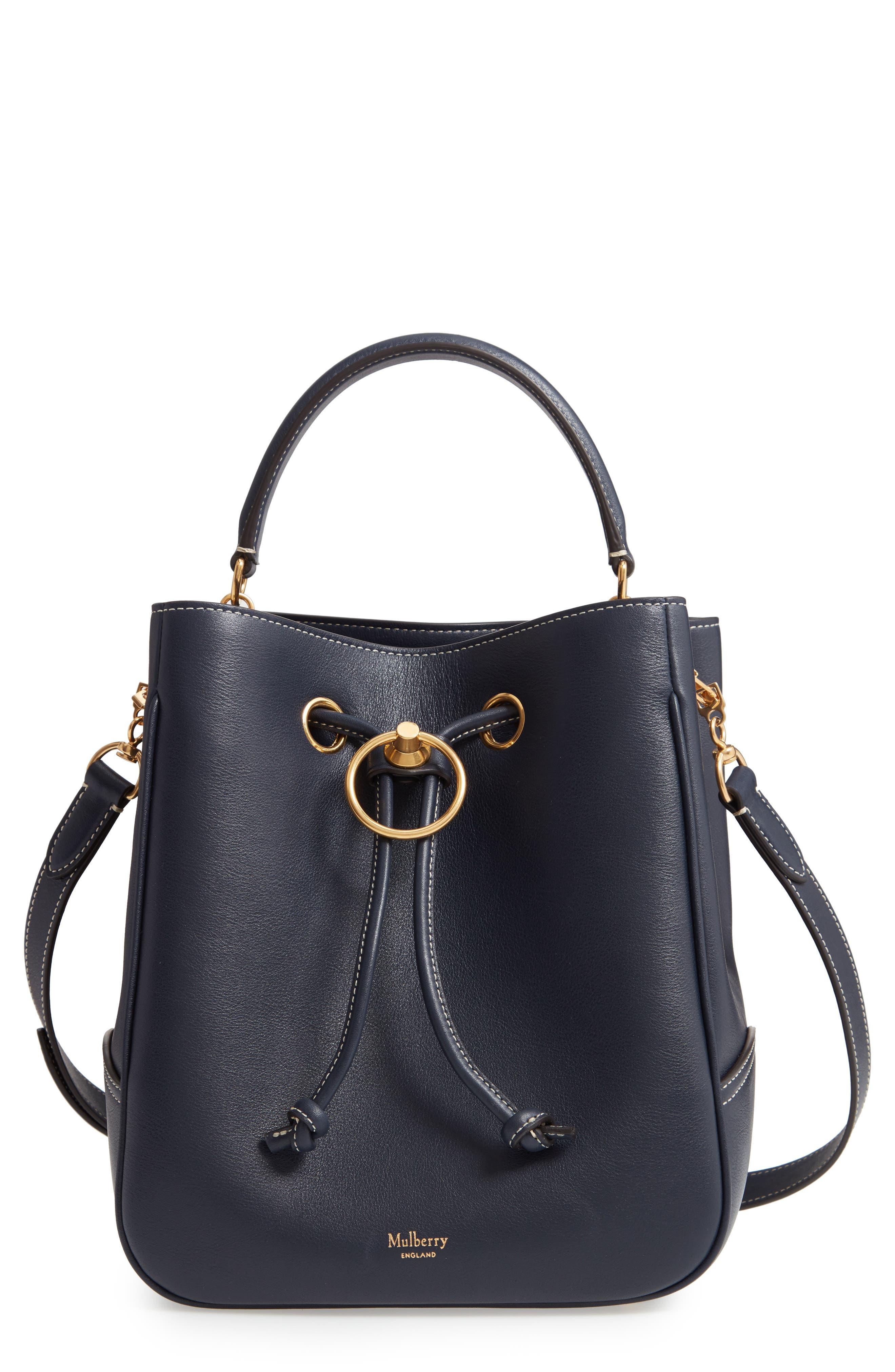 Hampstead Silky Calfskin Leather Bucket Bag, Main, color, MIDNIGHT