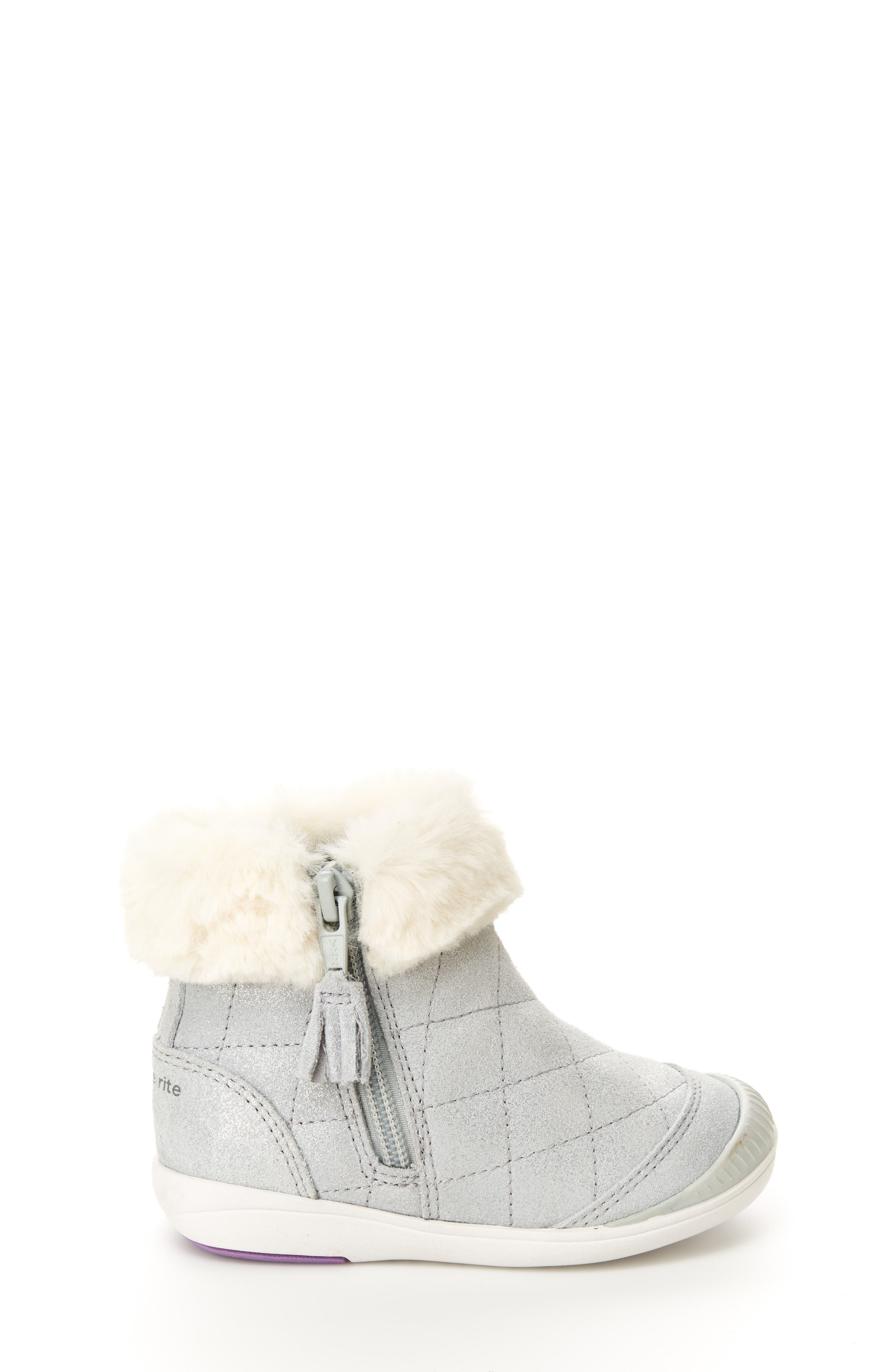 Chloe Faux Fur Quilted Bootie,                             Alternate thumbnail 2, color,                             SILVER