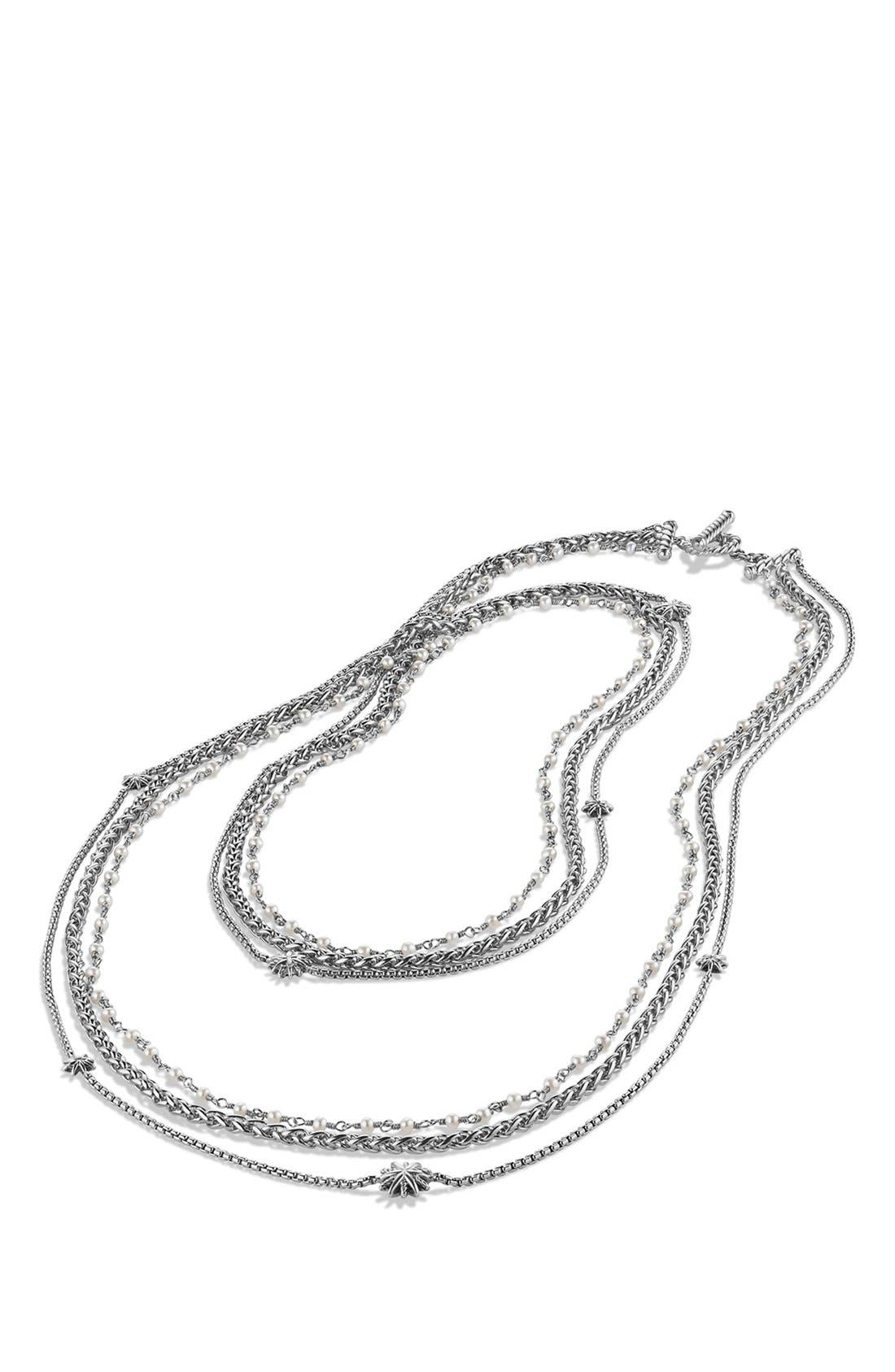 DAVID YURMAN,                             'Starburst' Chain Necklace with Pearls,                             Alternate thumbnail 2, color,                             PEARL/ SILVER