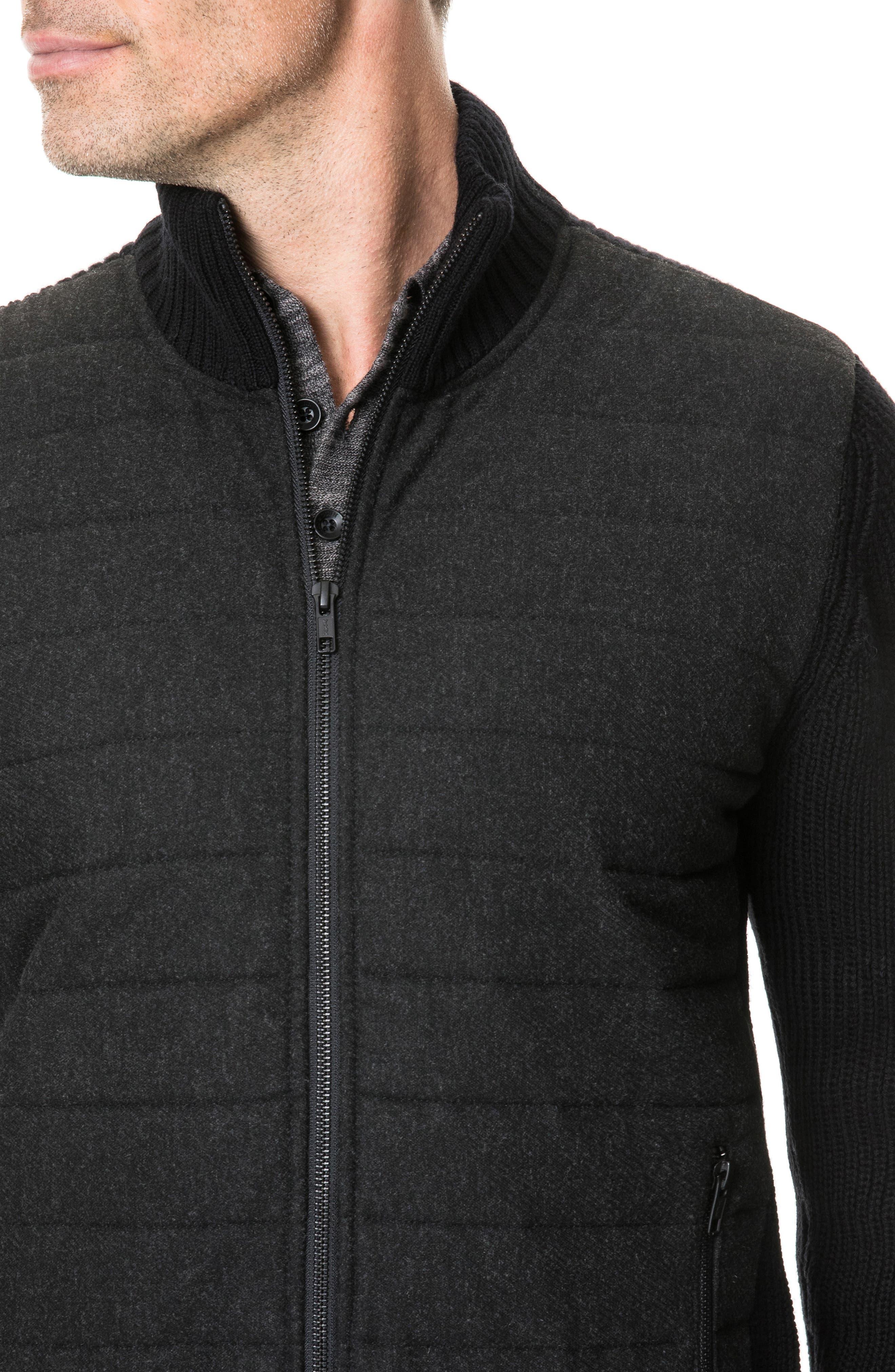 Greerton Regular Fit Zip Sweater,                             Alternate thumbnail 3, color,                             ONYX