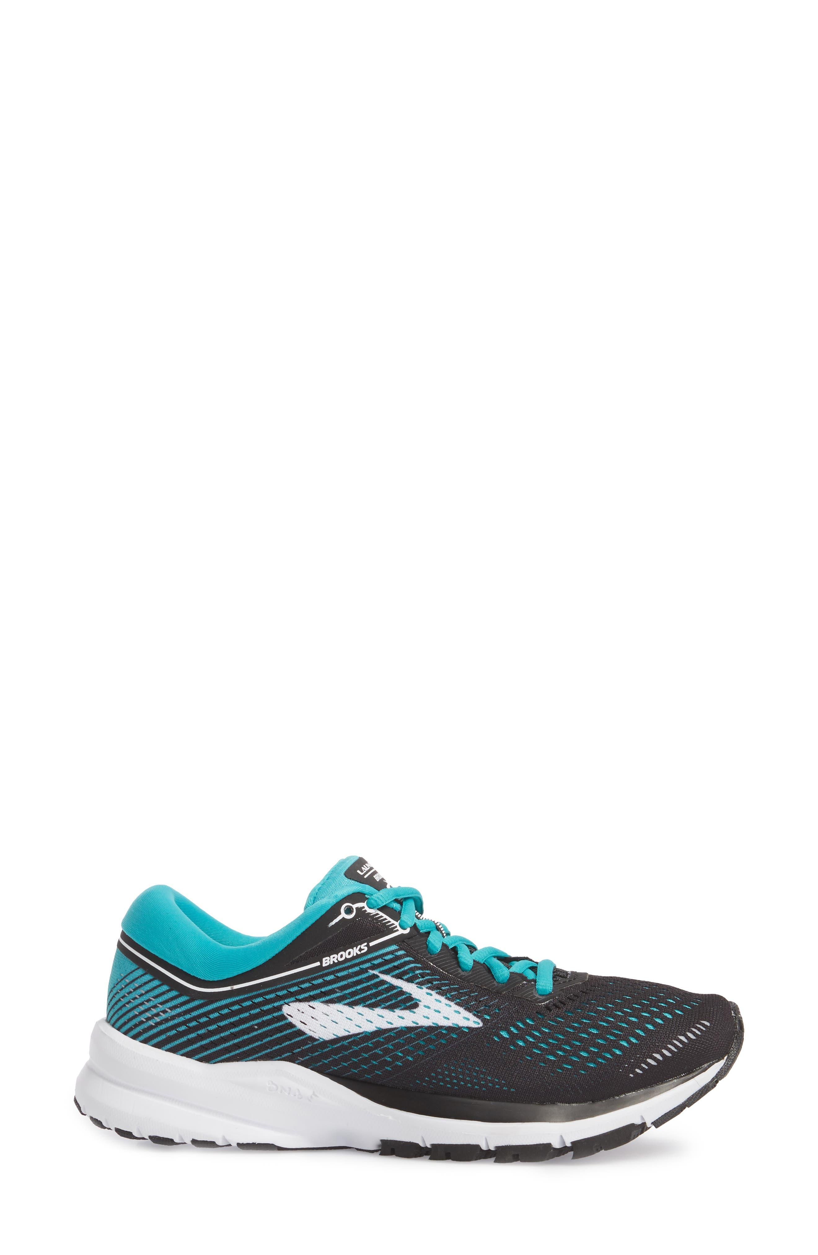 BROOKS,                             Launch 5 Running Shoe,                             Alternate thumbnail 3, color,                             BLACK/ TEAL GREEN/ WHITE