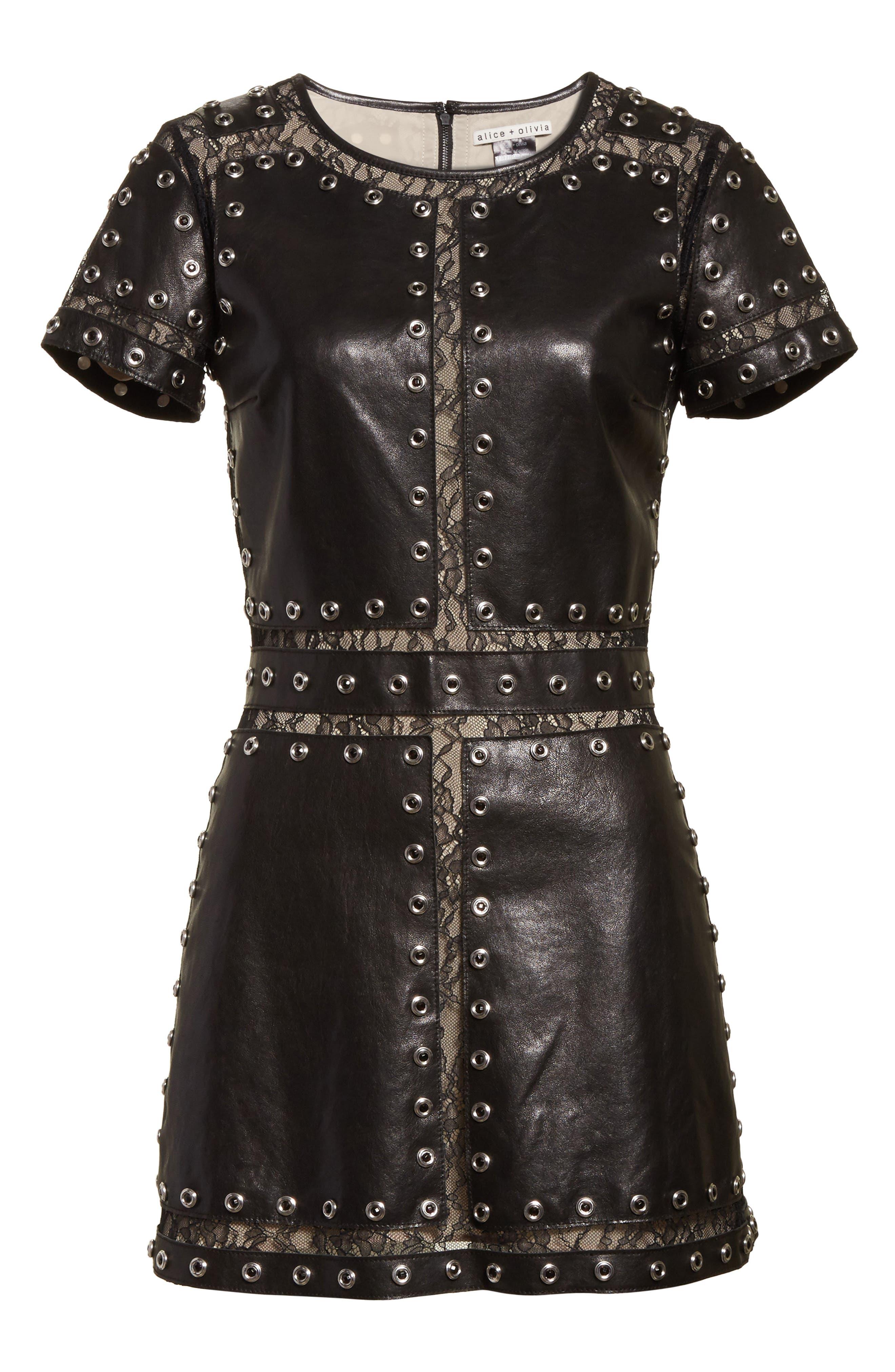 Tahlia Embellished Leather Panel A-Line Dress,                             Alternate thumbnail 6, color,                             001