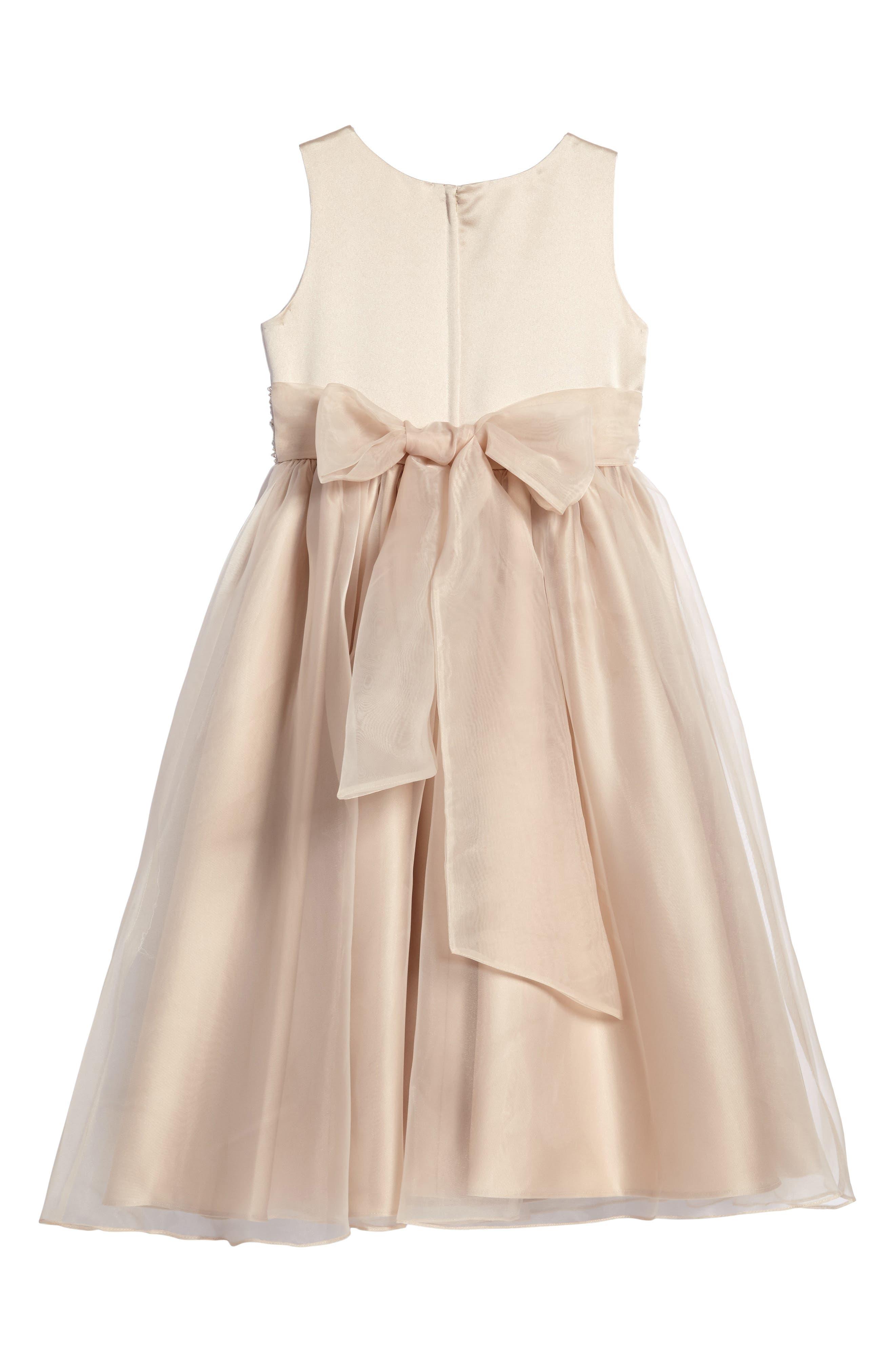 Beaded Satin Sleeveless Dress,                             Alternate thumbnail 3, color,                             CHAMPAGNE