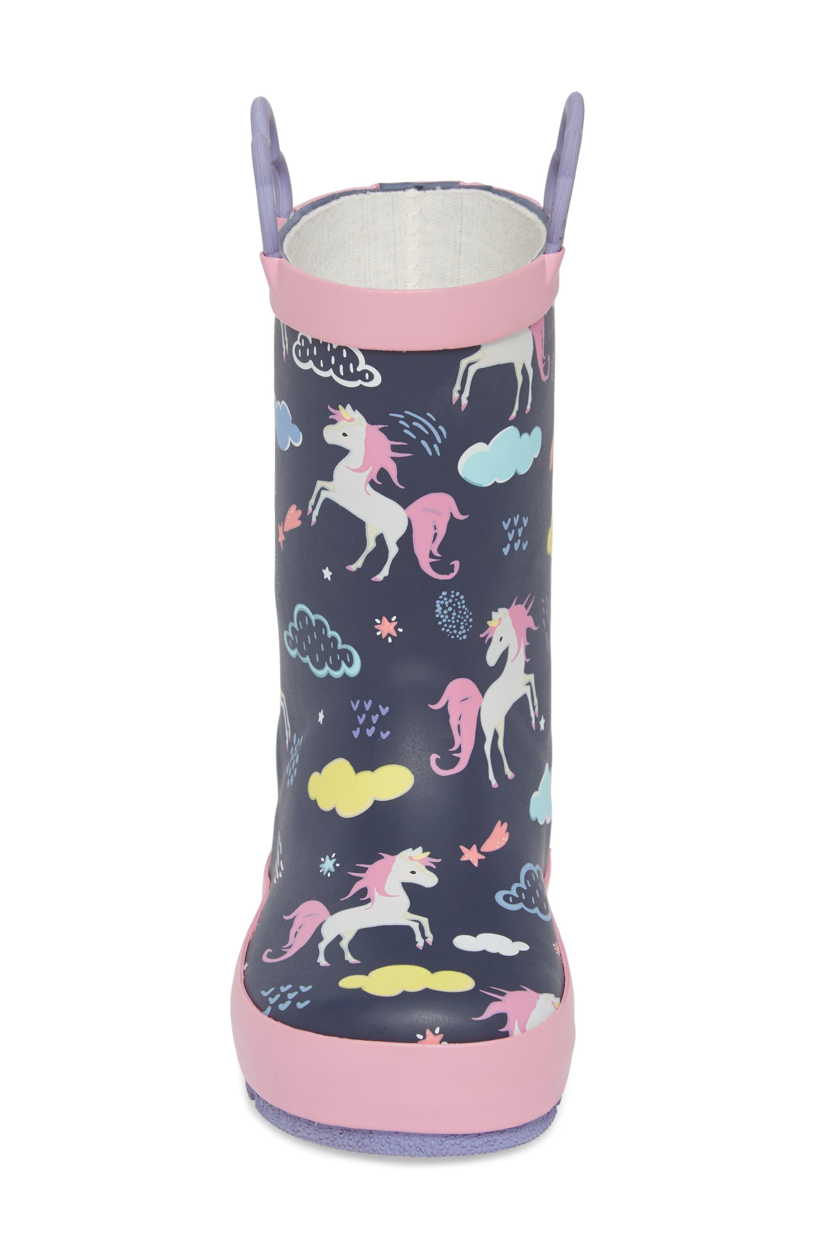 Unicorn Play Waterproof Rain Boot,                             Alternate thumbnail 4, color,                             421