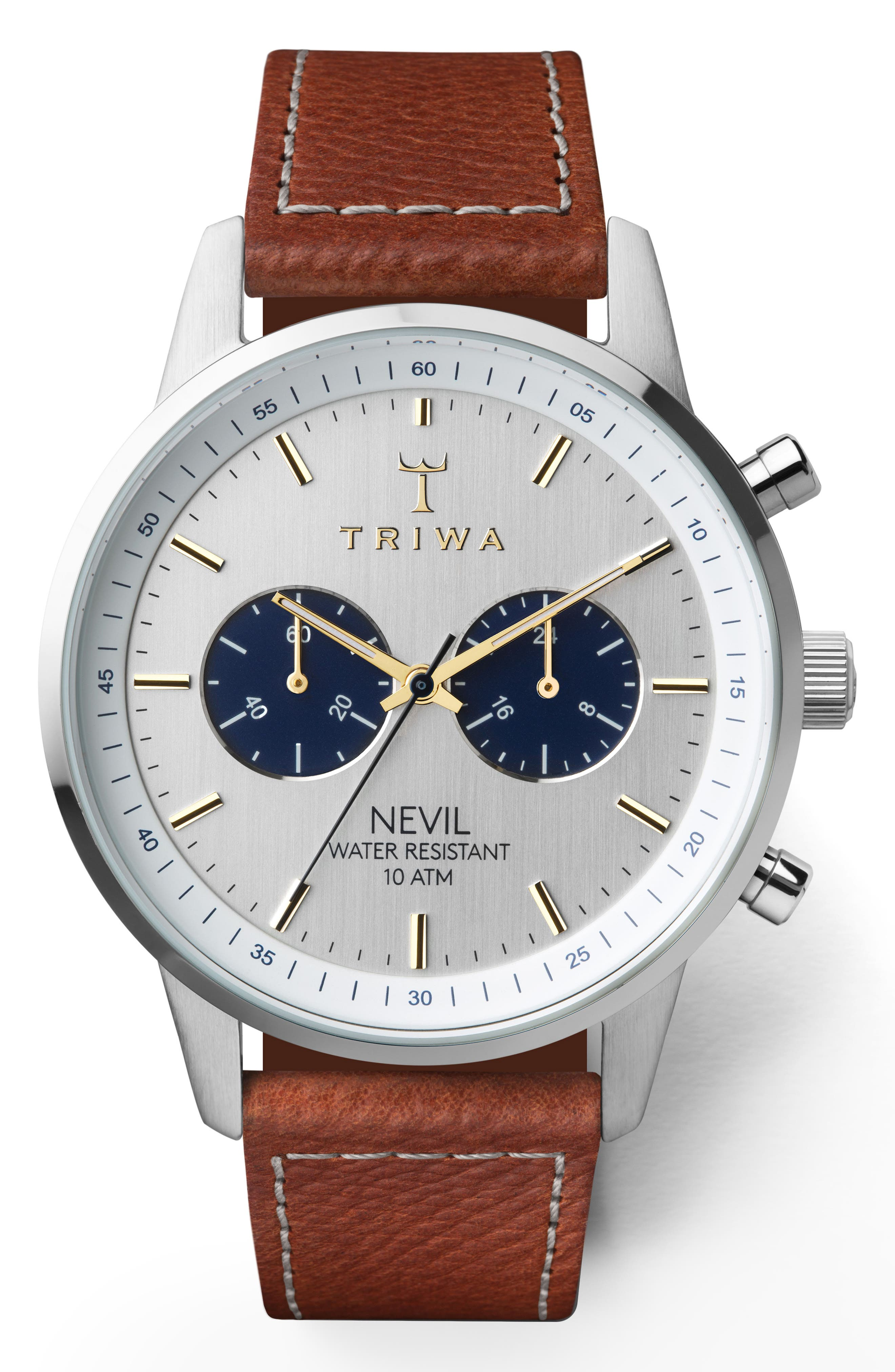 Loch Nevil Leather Strap Watch, 42mm,                         Main,                         color, 200