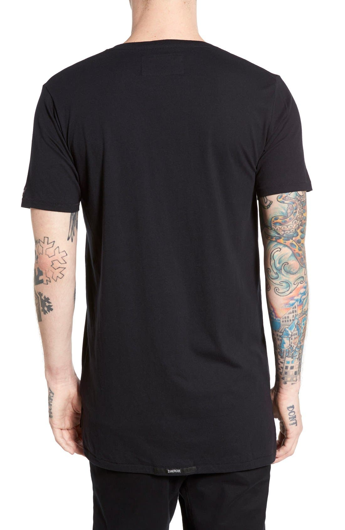 'Flintlock' Longline Crewneck T-Shirt,                             Alternate thumbnail 2, color,                             BLACK