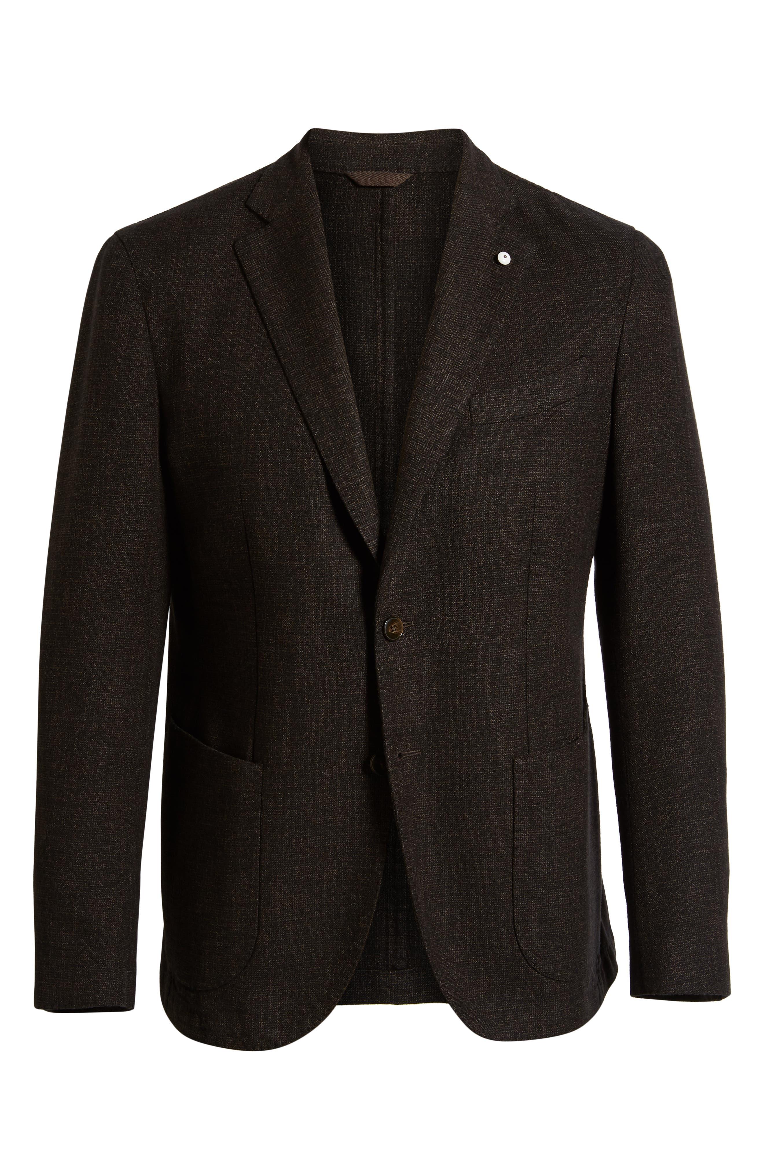 L.B.M 1911 Classic Fit Cotton & Wool Blazer,                             Alternate thumbnail 5, color,                             BROWN