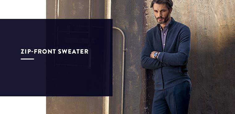 Men's zip-front sweater.