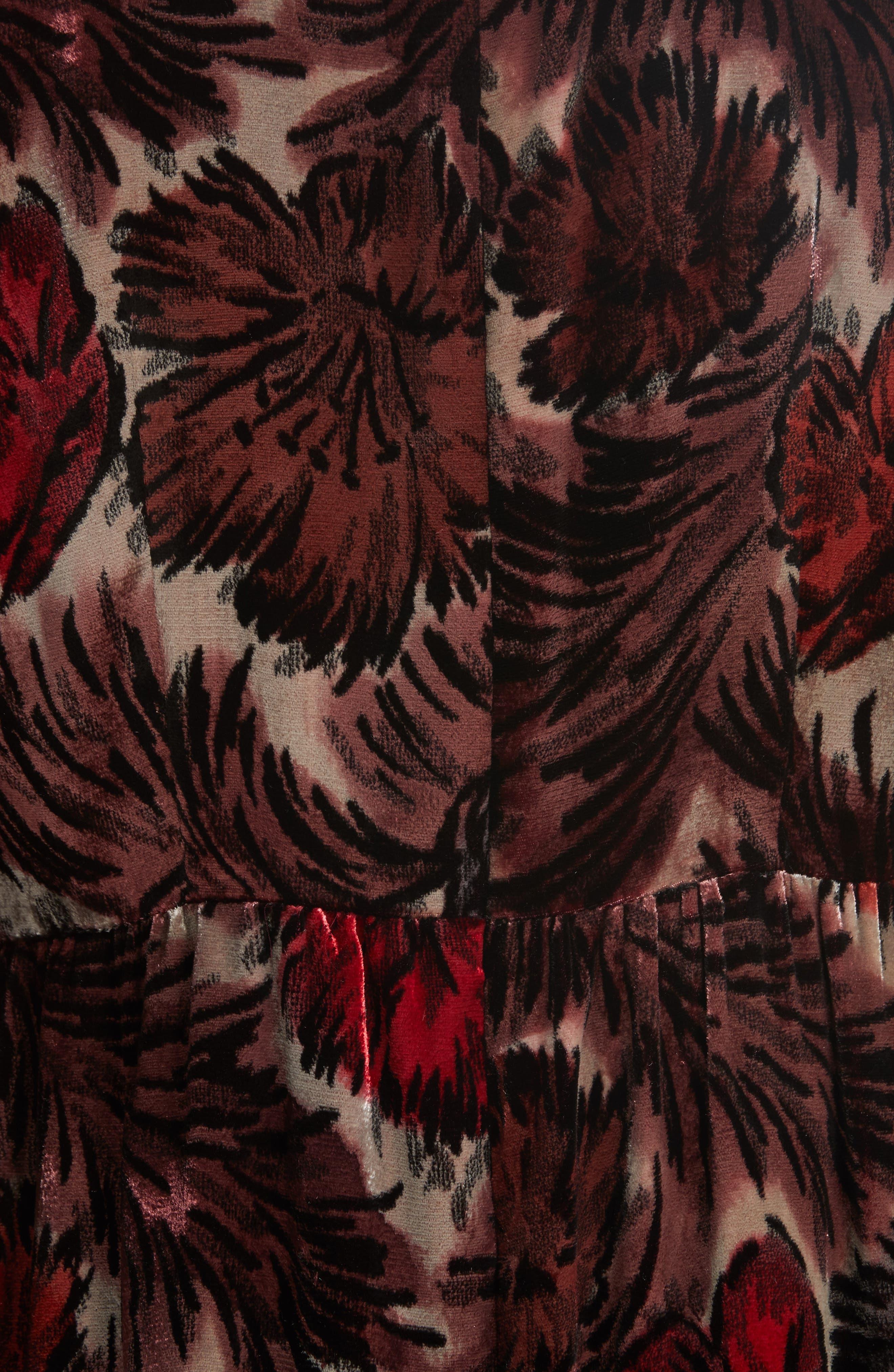 Floral Velvet Mock Neck Dress,                             Alternate thumbnail 5, color,                             600