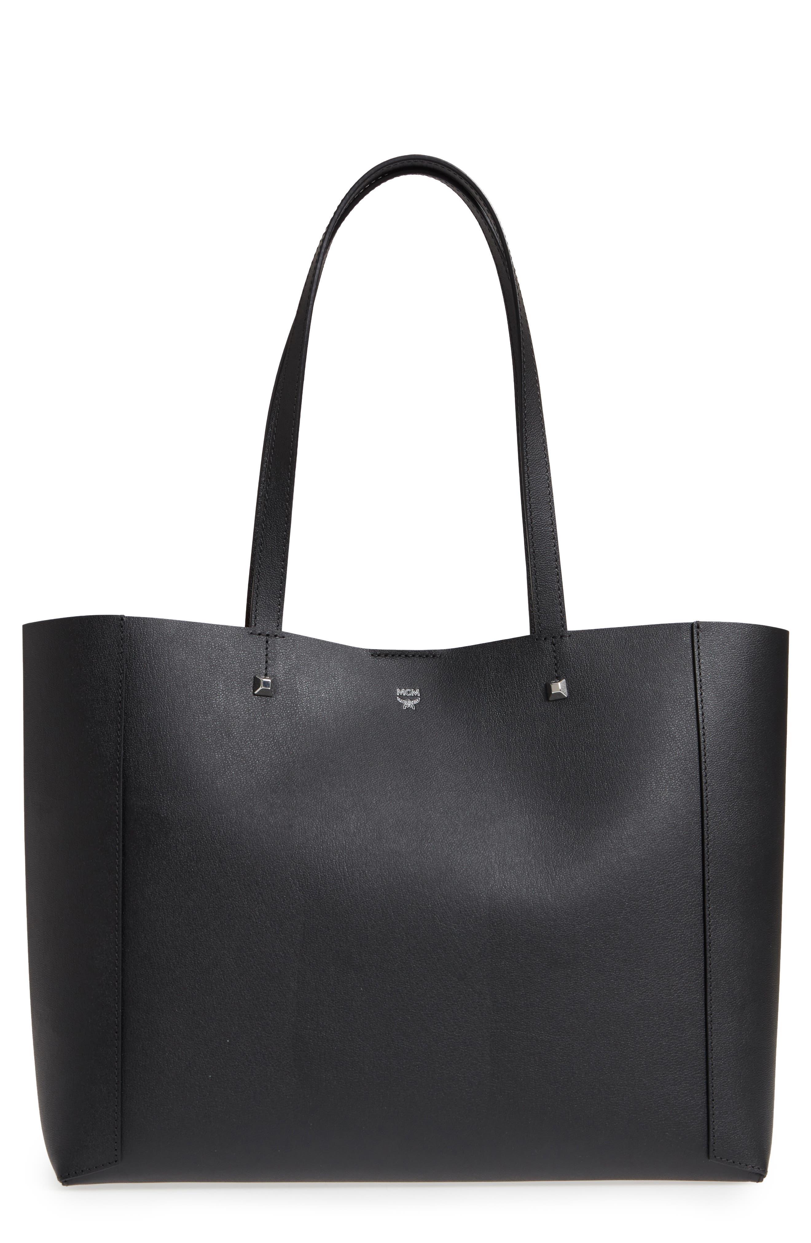 Ilse East/West Leather Shopper,                             Main thumbnail 1, color,                             001
