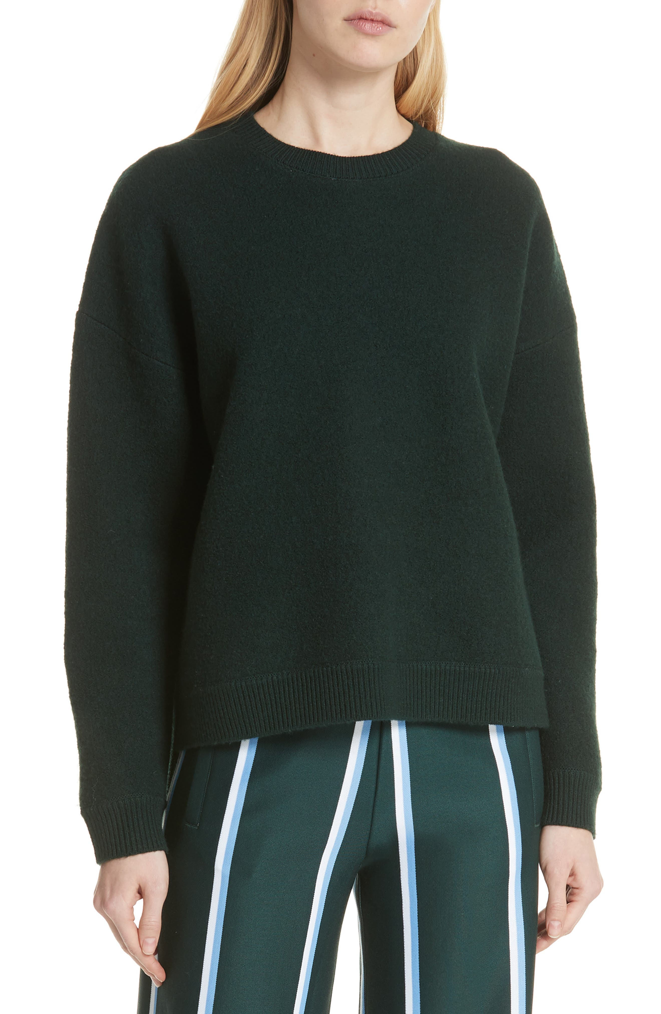 TORY SPORT Droptail Wool Pullover Sweater in Conifer