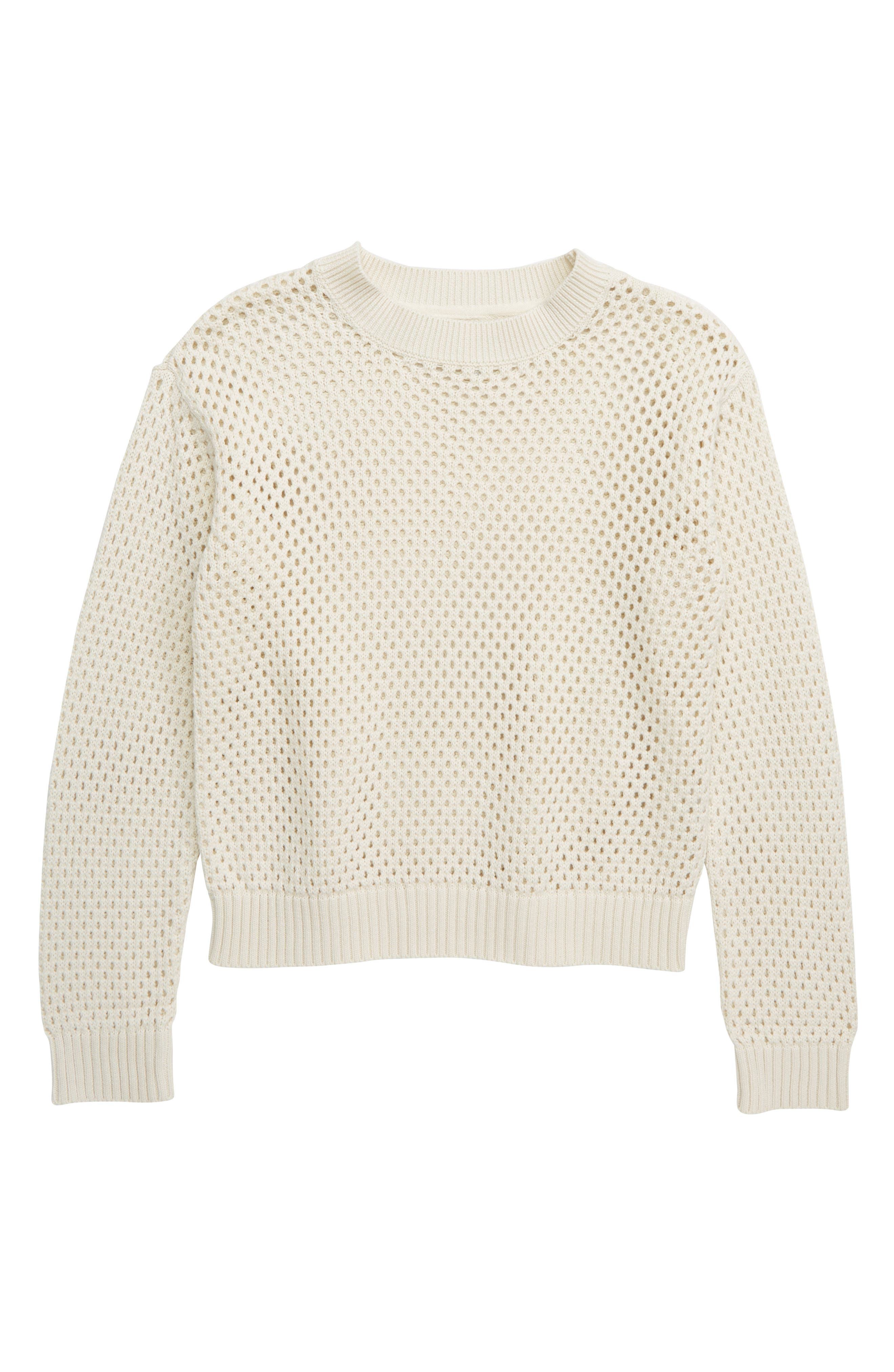 TREASURE & BOND,                             Pointelle Sweater,                             Main thumbnail 1, color,                             IVORY EGRET