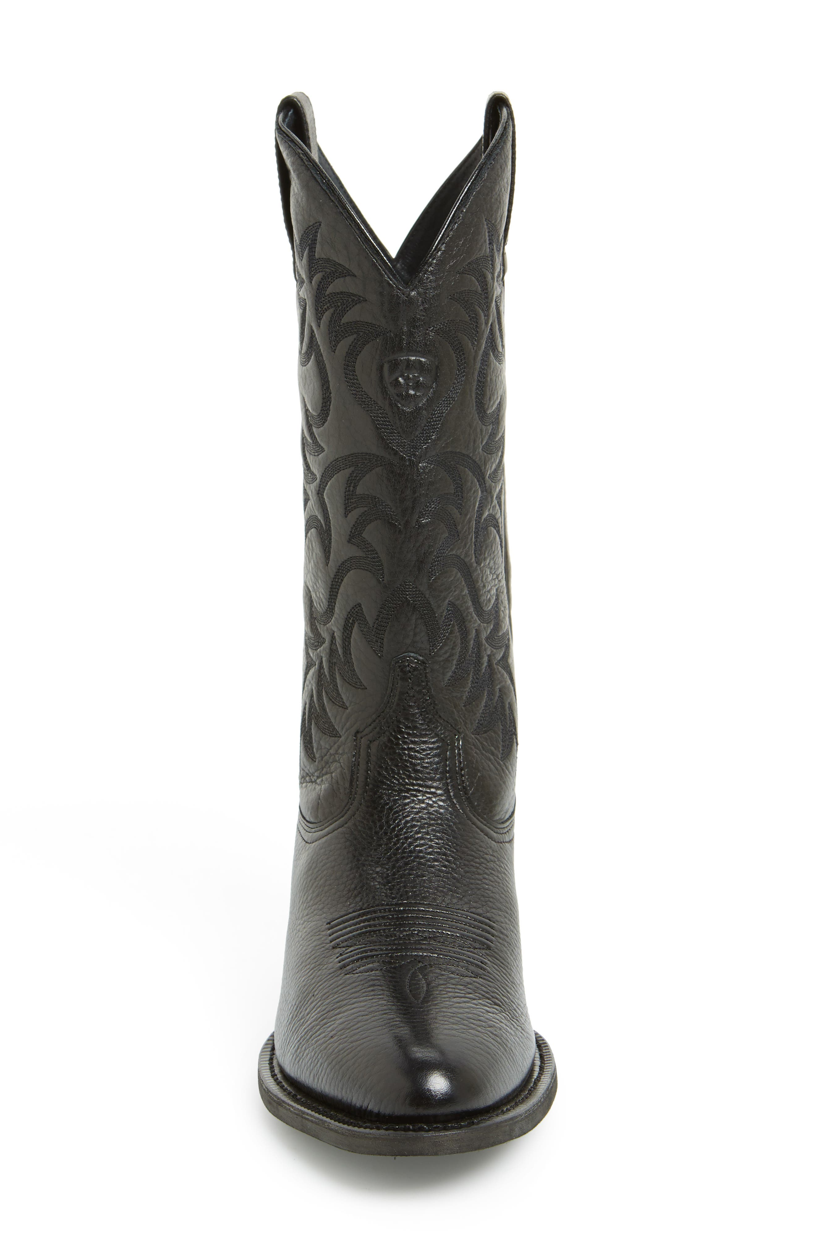 'Heritage' Leather Cowboy R-Toe Boot,                             Alternate thumbnail 5, color,                             BLACK DEERTAN