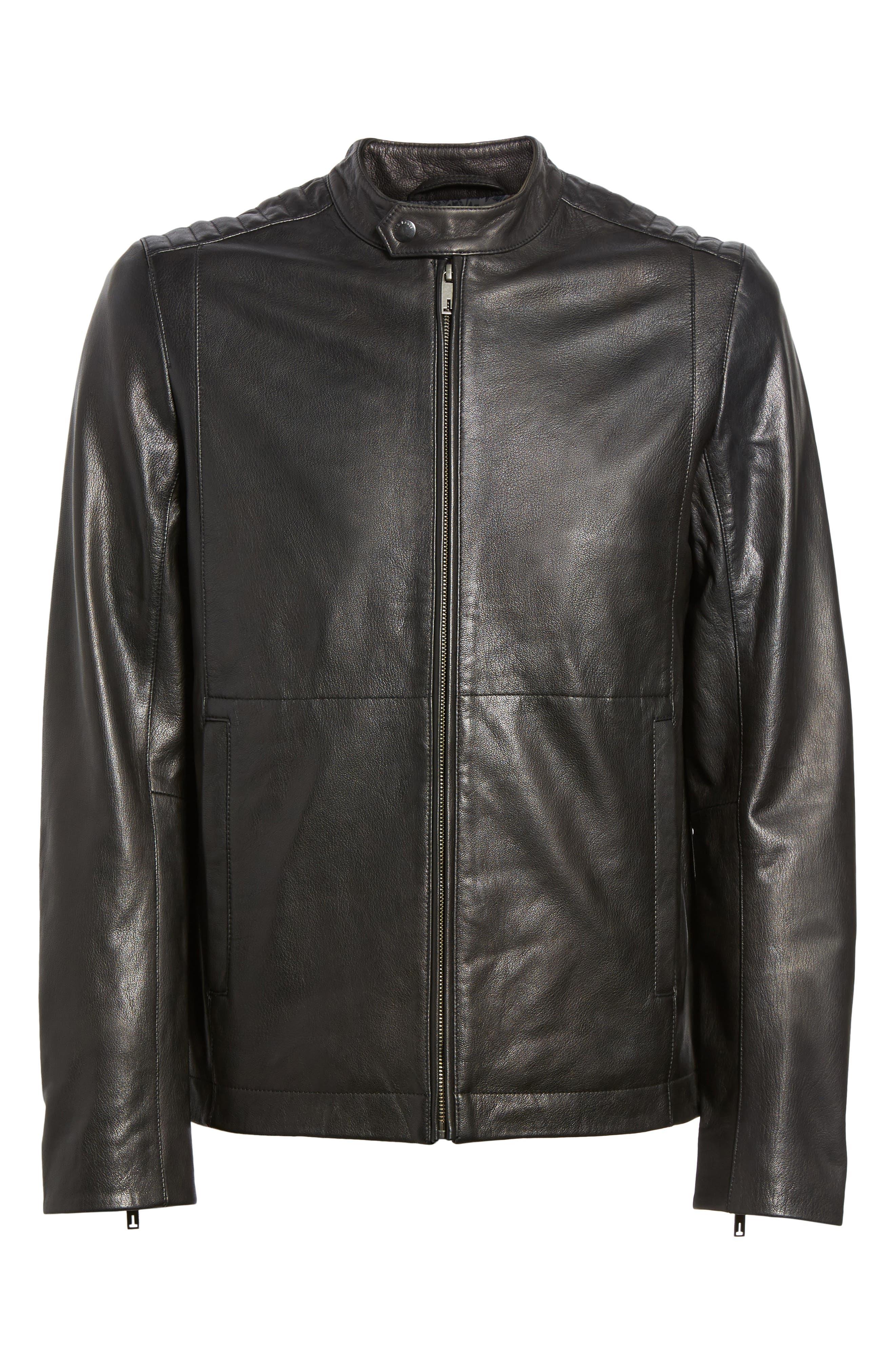 Mate Leather Biker Jacket,                             Alternate thumbnail 5, color,                             001