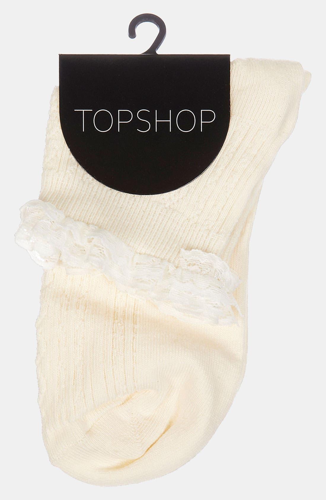 Lace Trim Ankle Socks,                             Alternate thumbnail 38, color,