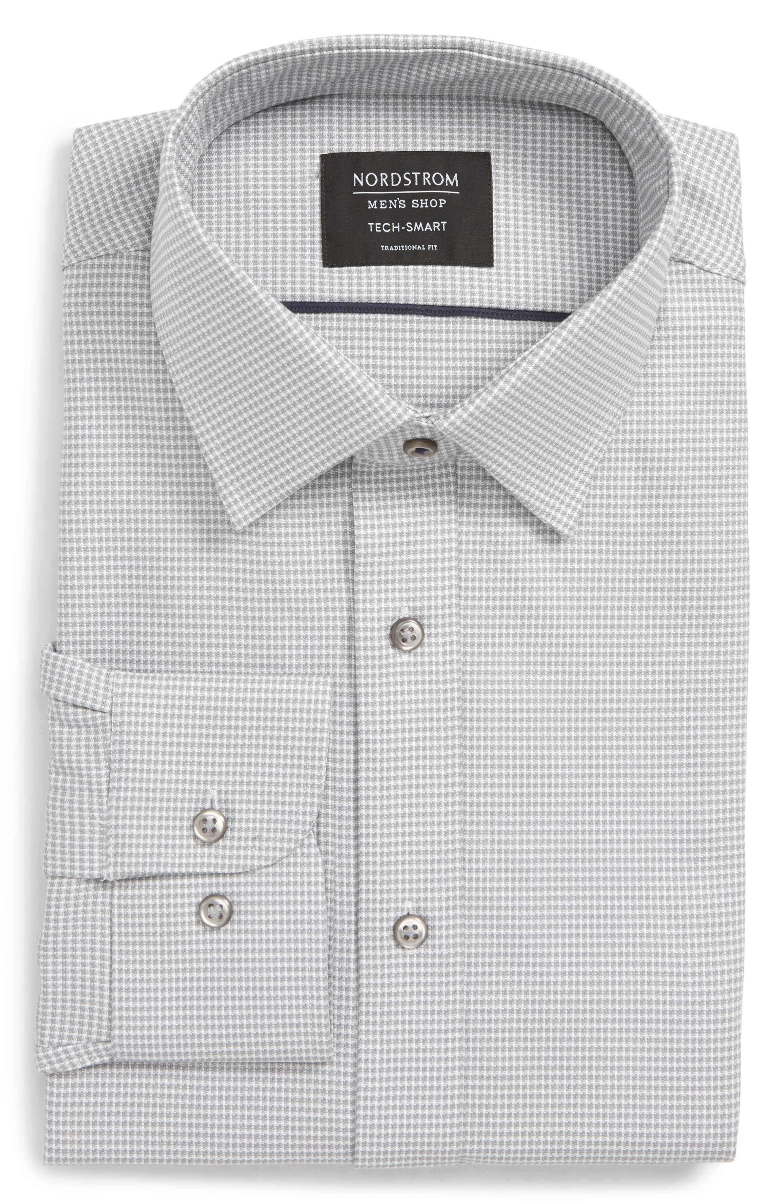 Tech-Smart Traditional Fit Stretch Solid Dress Shirt, Main, color, GREY SLEET