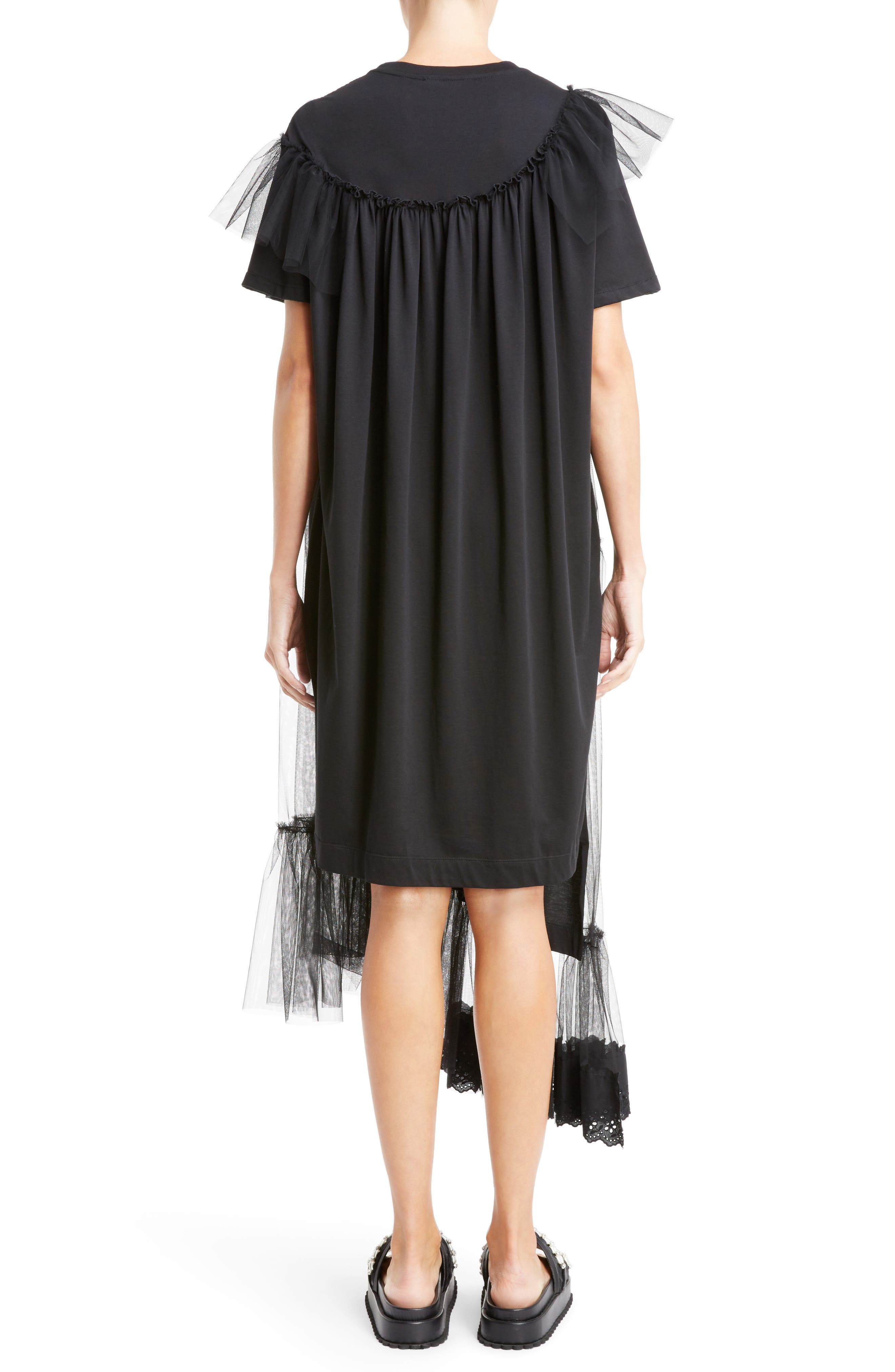 Long Jersey & Tulle T-Shirt Dress,                             Alternate thumbnail 2, color,                             001