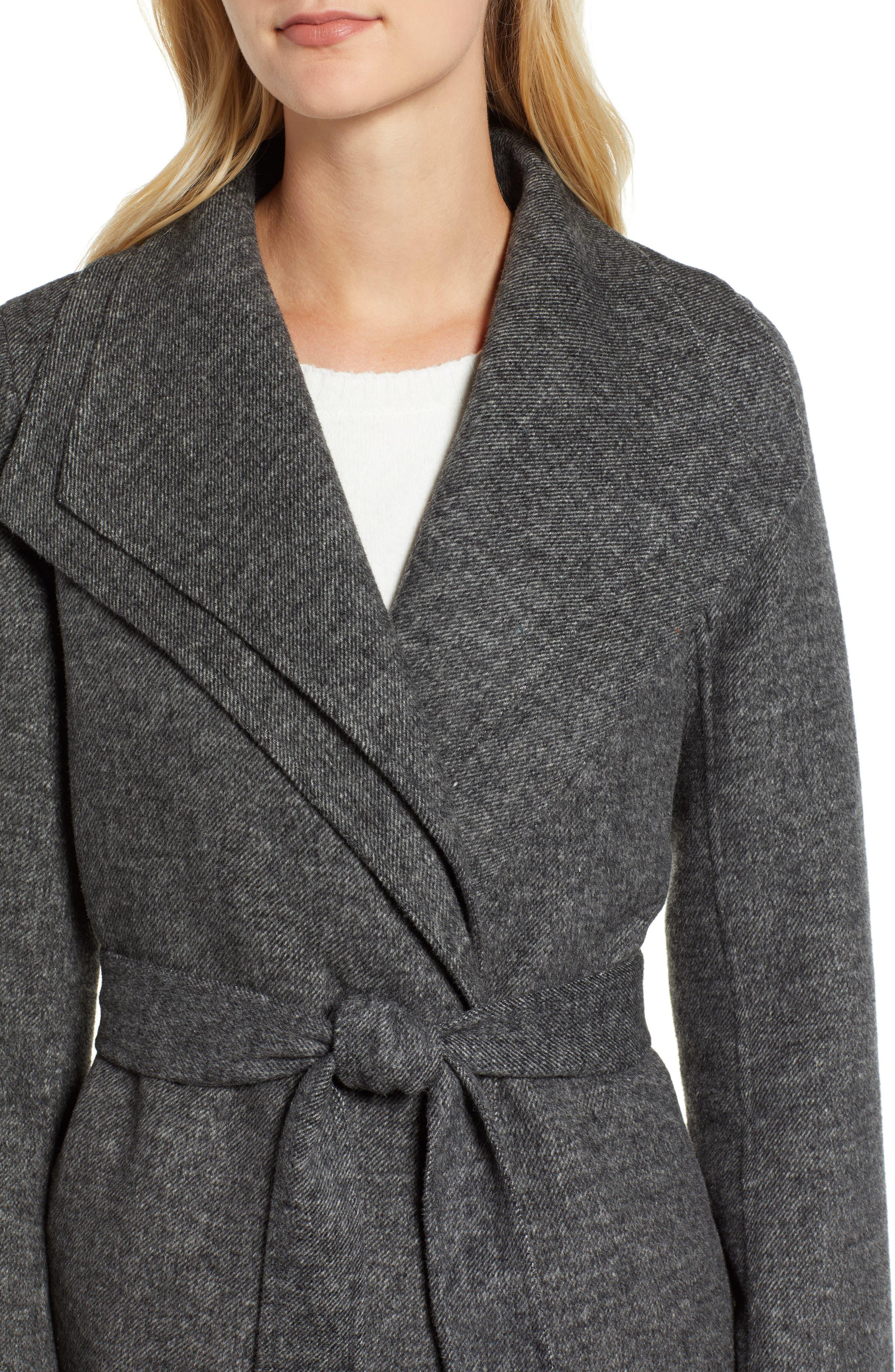 Elliot Wool Blend Wrap Coat,                             Alternate thumbnail 4, color,                             022