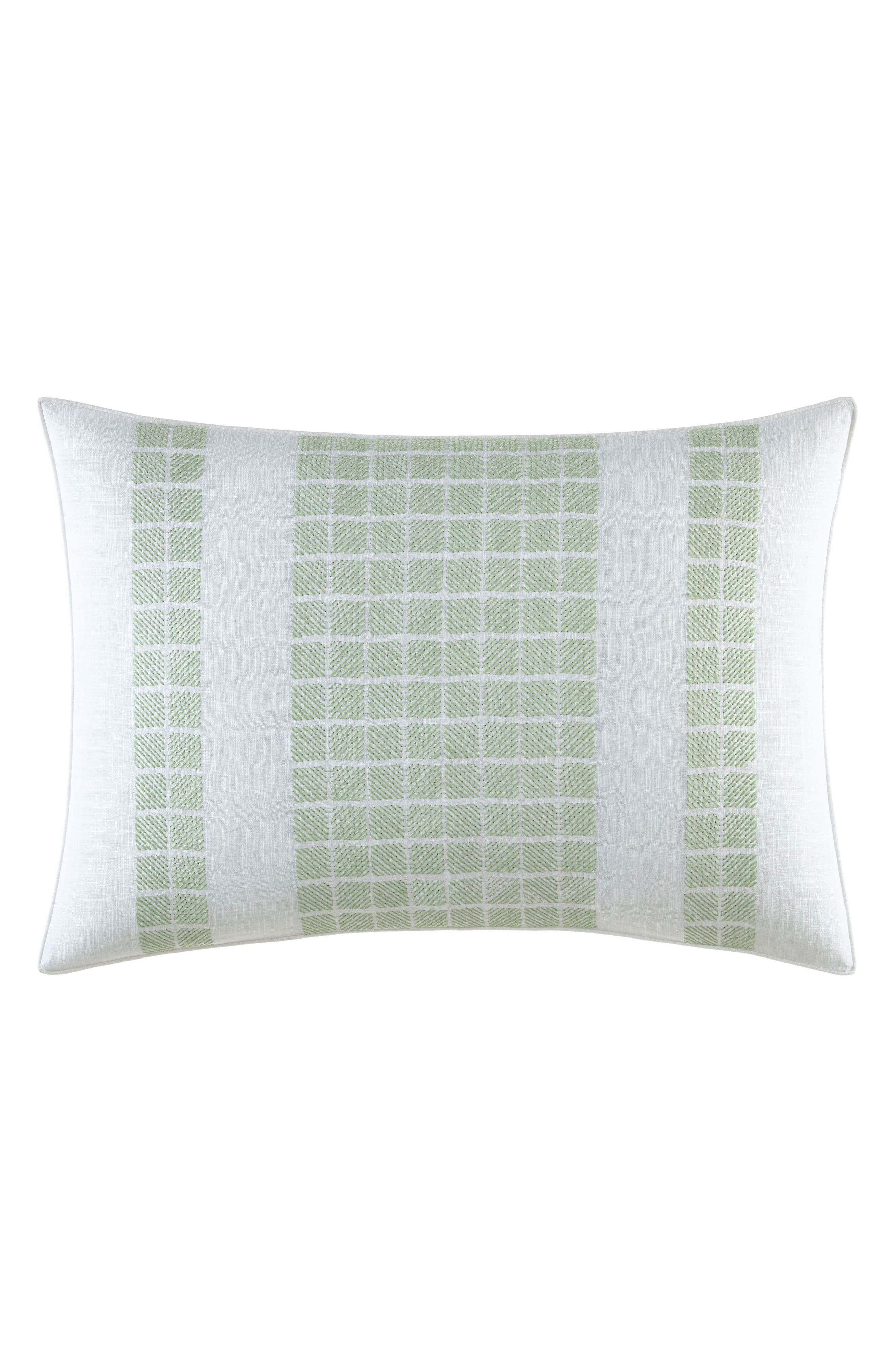 Norwich Embroidered Accent Pillow,                             Main thumbnail 1, color,                             LIGHT PASTEL GREEN