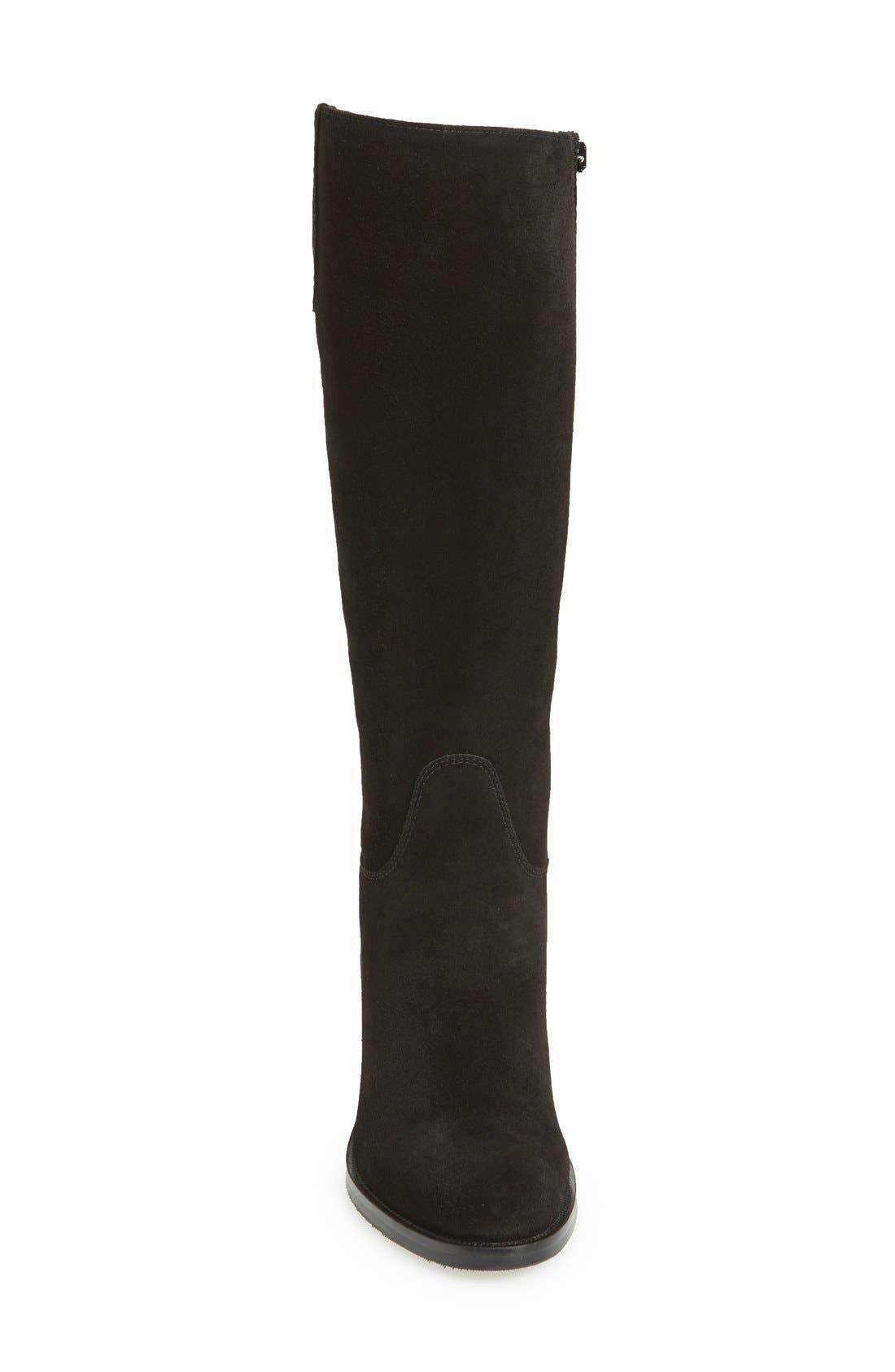 'Polly' Waterproof Knee High Boot,                             Alternate thumbnail 3, color,                             BLACK SUEDE