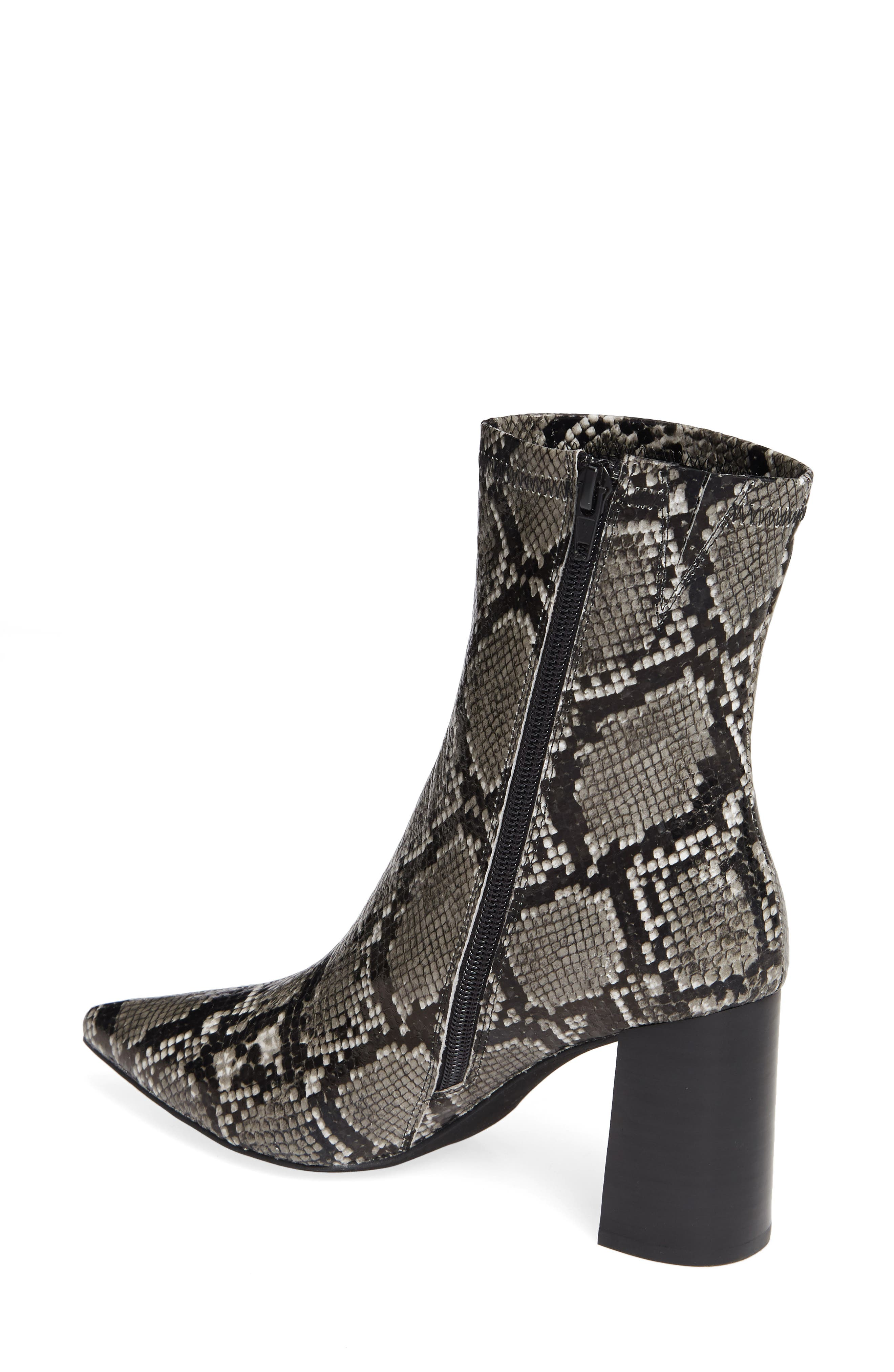 Coma 3 Block Heel Bootie,                             Alternate thumbnail 2, color,                             GREY/ BLACK SNAKE PRINT