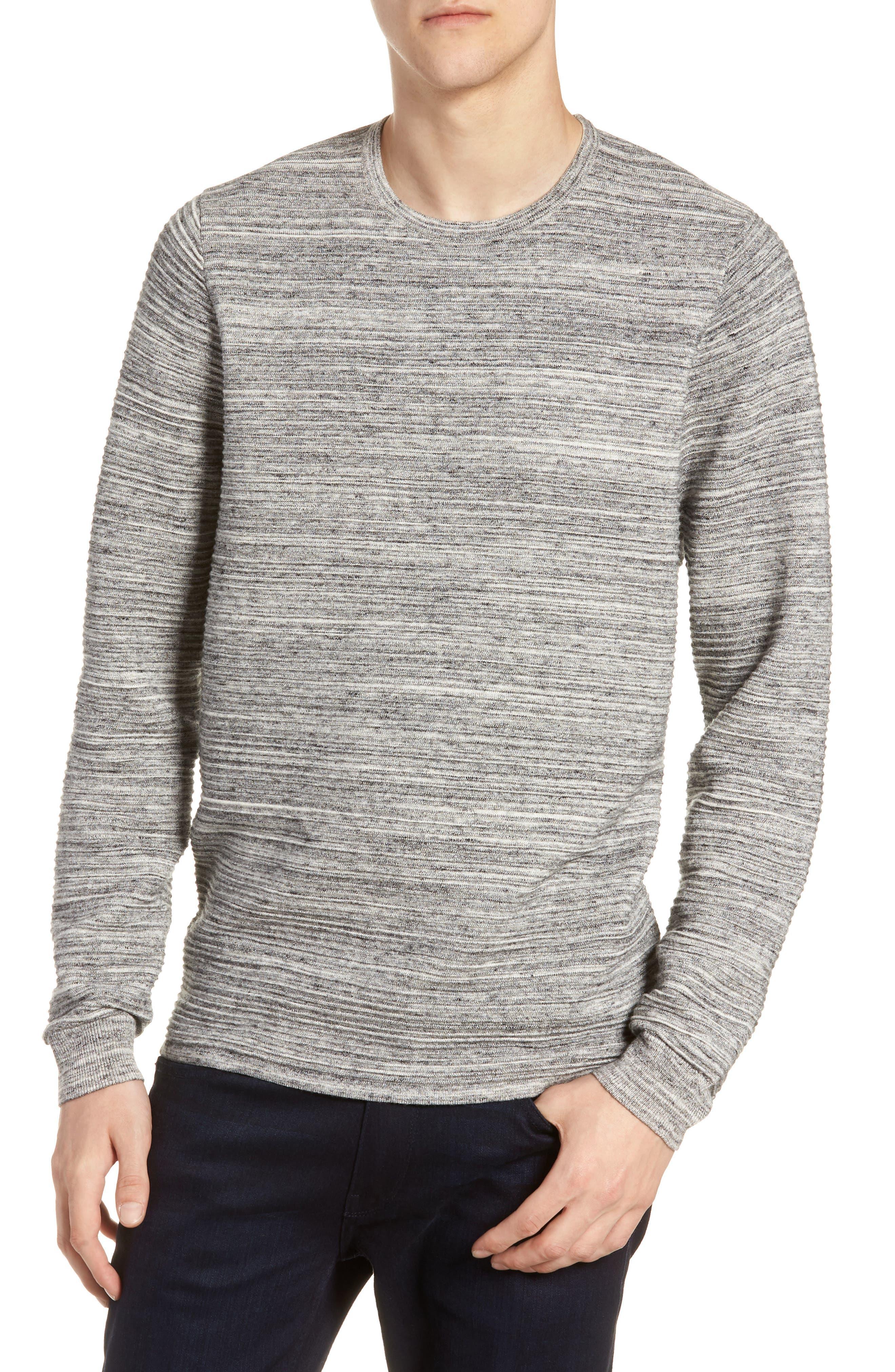 Ottoman Crewneck Sweater,                         Main,                         color, GREY TORNADO SPACEDYE