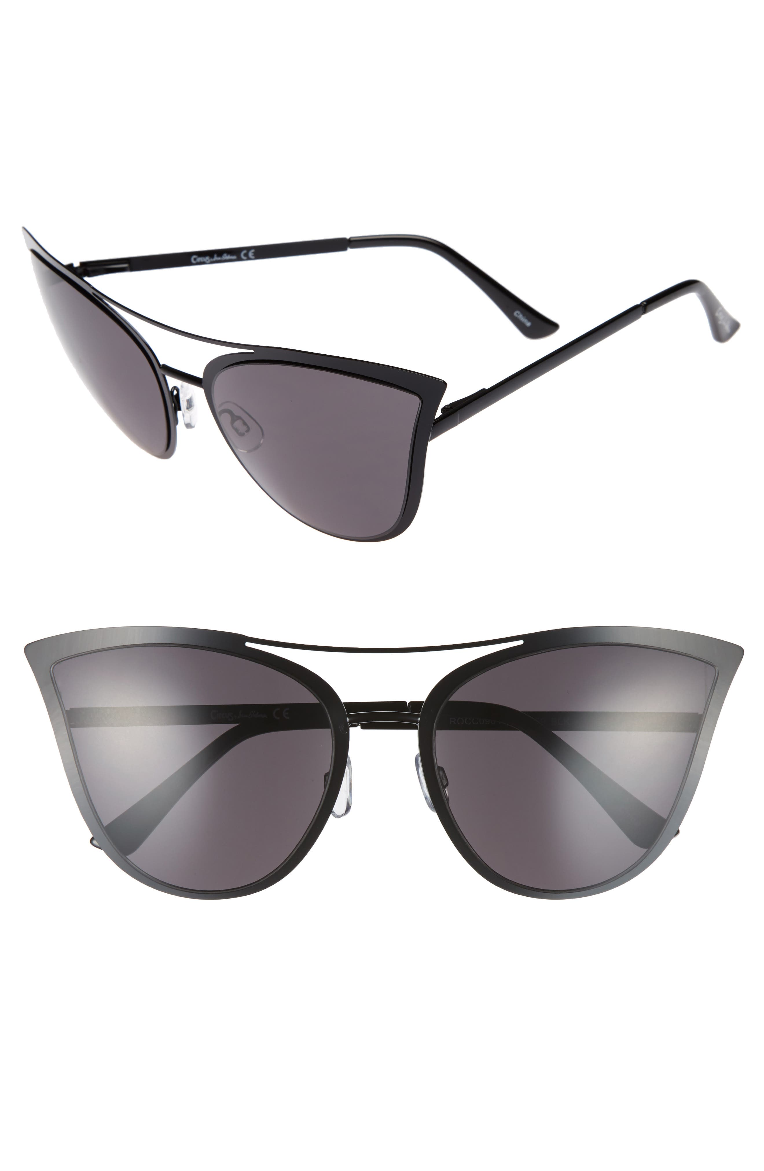 61mm Metal Cat Eye Sunglasses,                             Main thumbnail 1, color,                             001