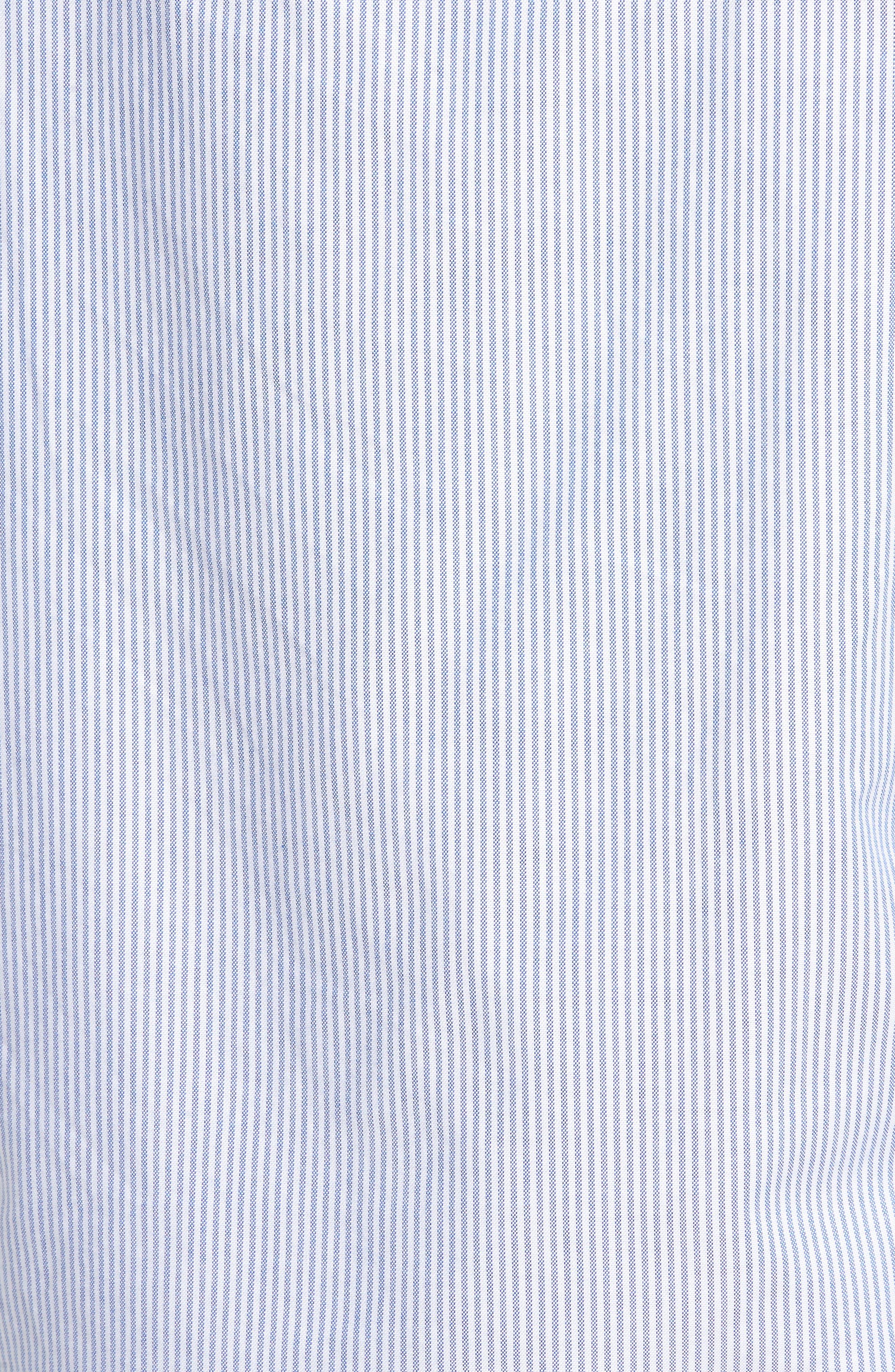 Slim Fit Stretch Stripe Pima Cotton Oxford Shirt,                             Alternate thumbnail 5, color,                             400