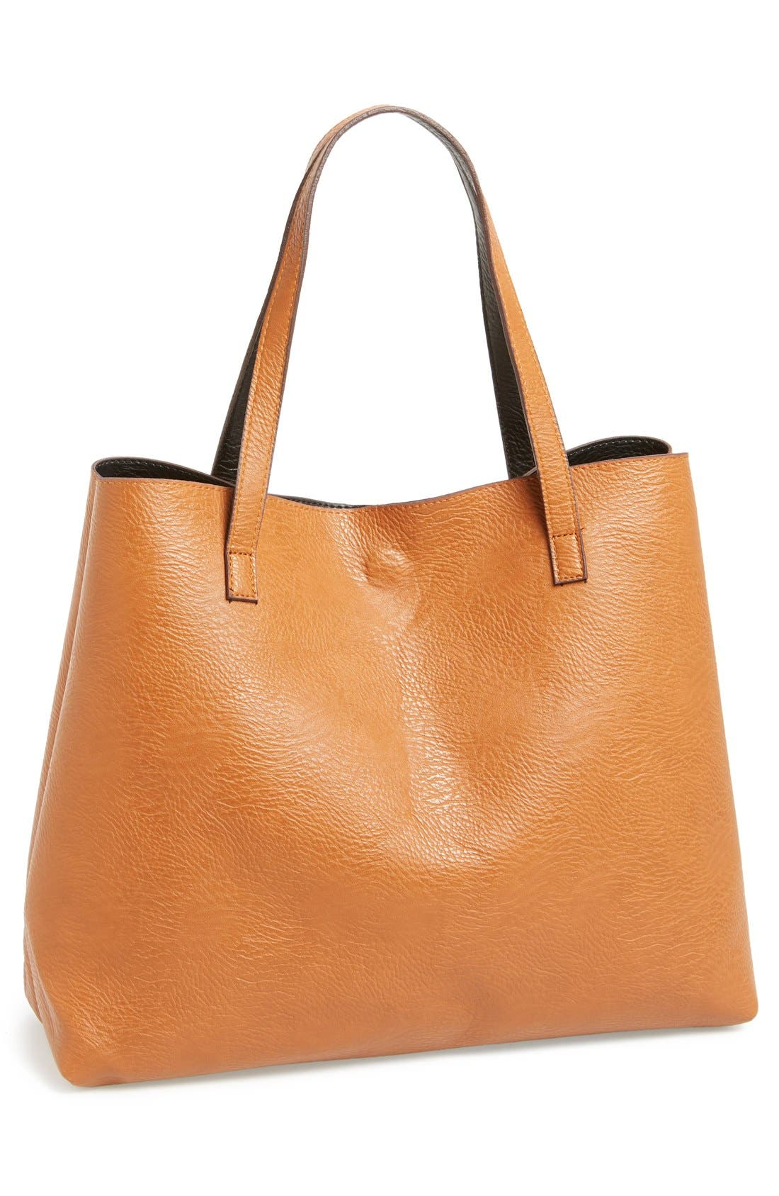 STREET LEVEL,                             Reversible Faux Leather Tote & Wristlet,                             Alternate thumbnail 7, color,                             BLACK/ COGNAC