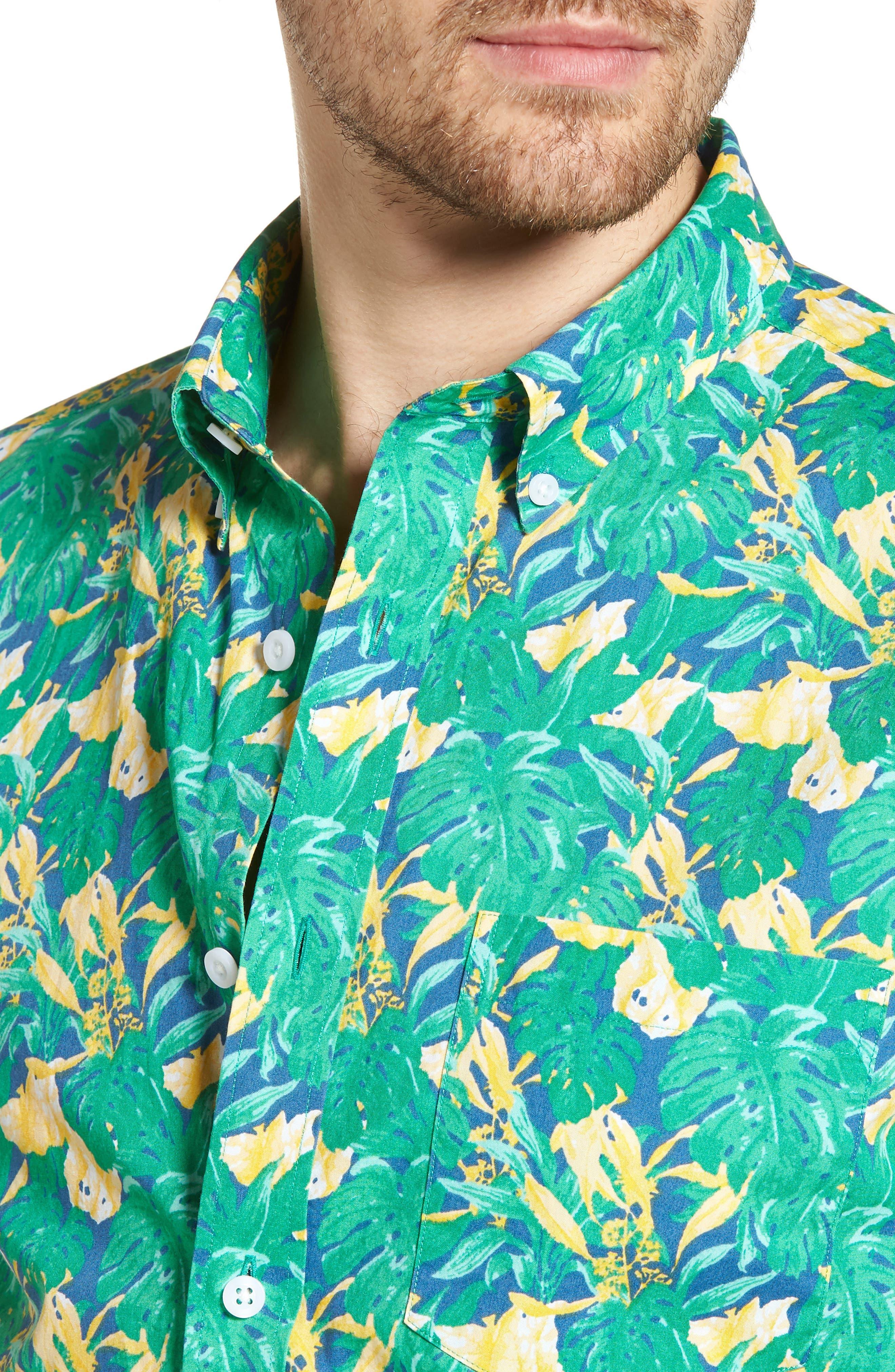 Trim Fit Leaf Print Sport Shirt,                             Alternate thumbnail 4, color,