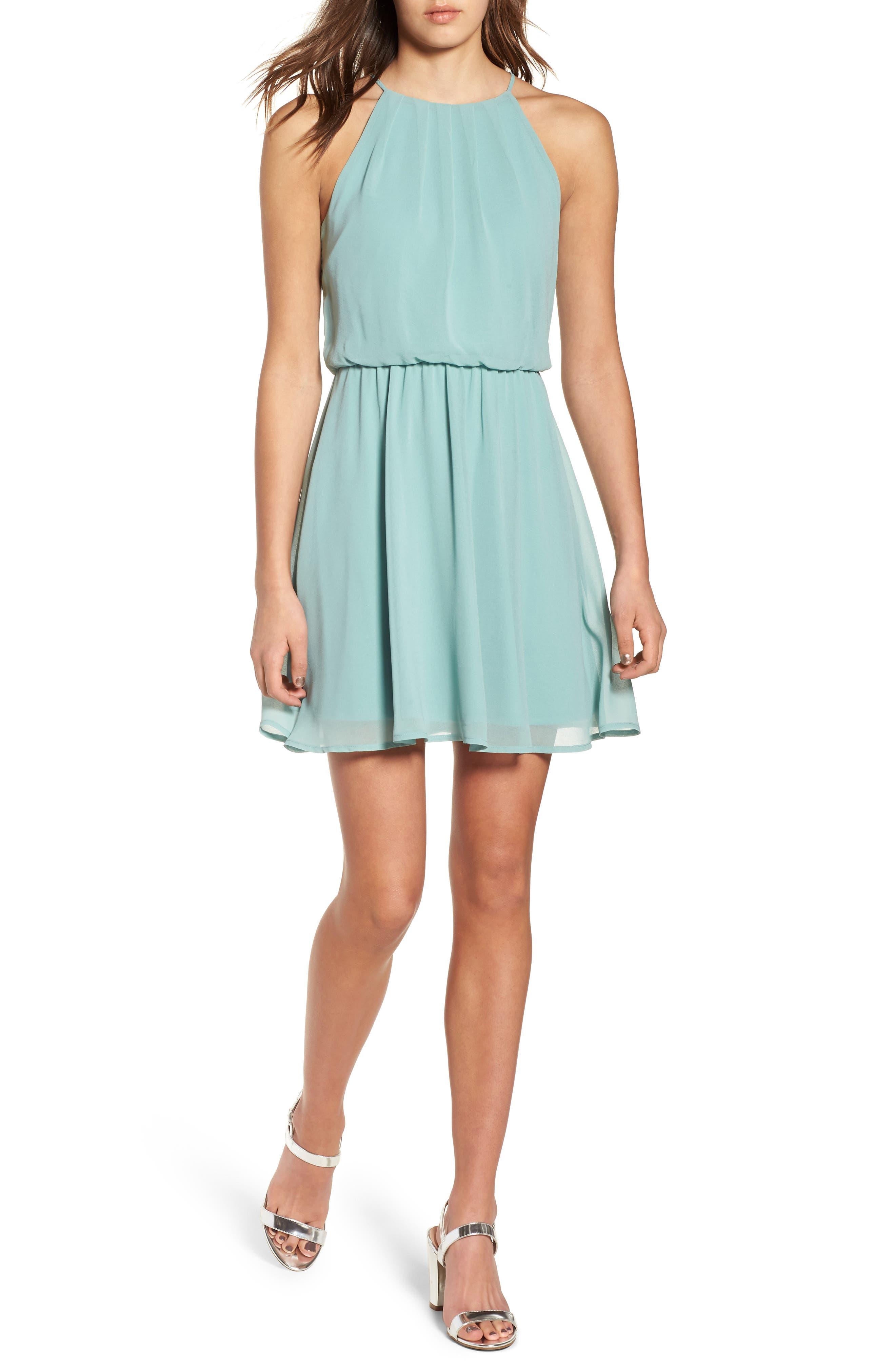 Blouson Chiffon Skater Dress,                             Main thumbnail 4, color,