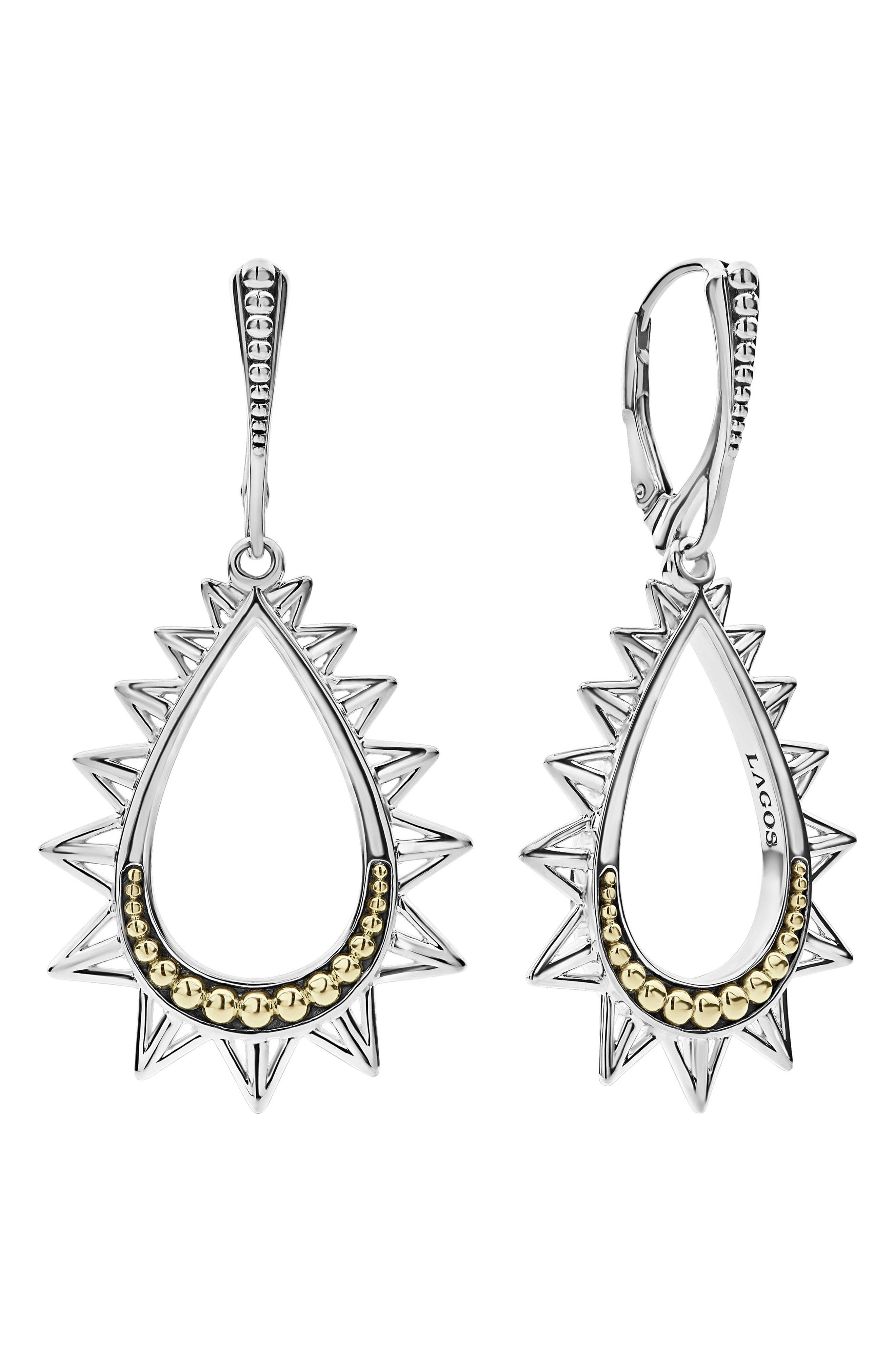 LAGOS 18K Yellow Gold & Sterling Silver Ksl Spiked Pyramid Pear-Shaped Drop Earrings