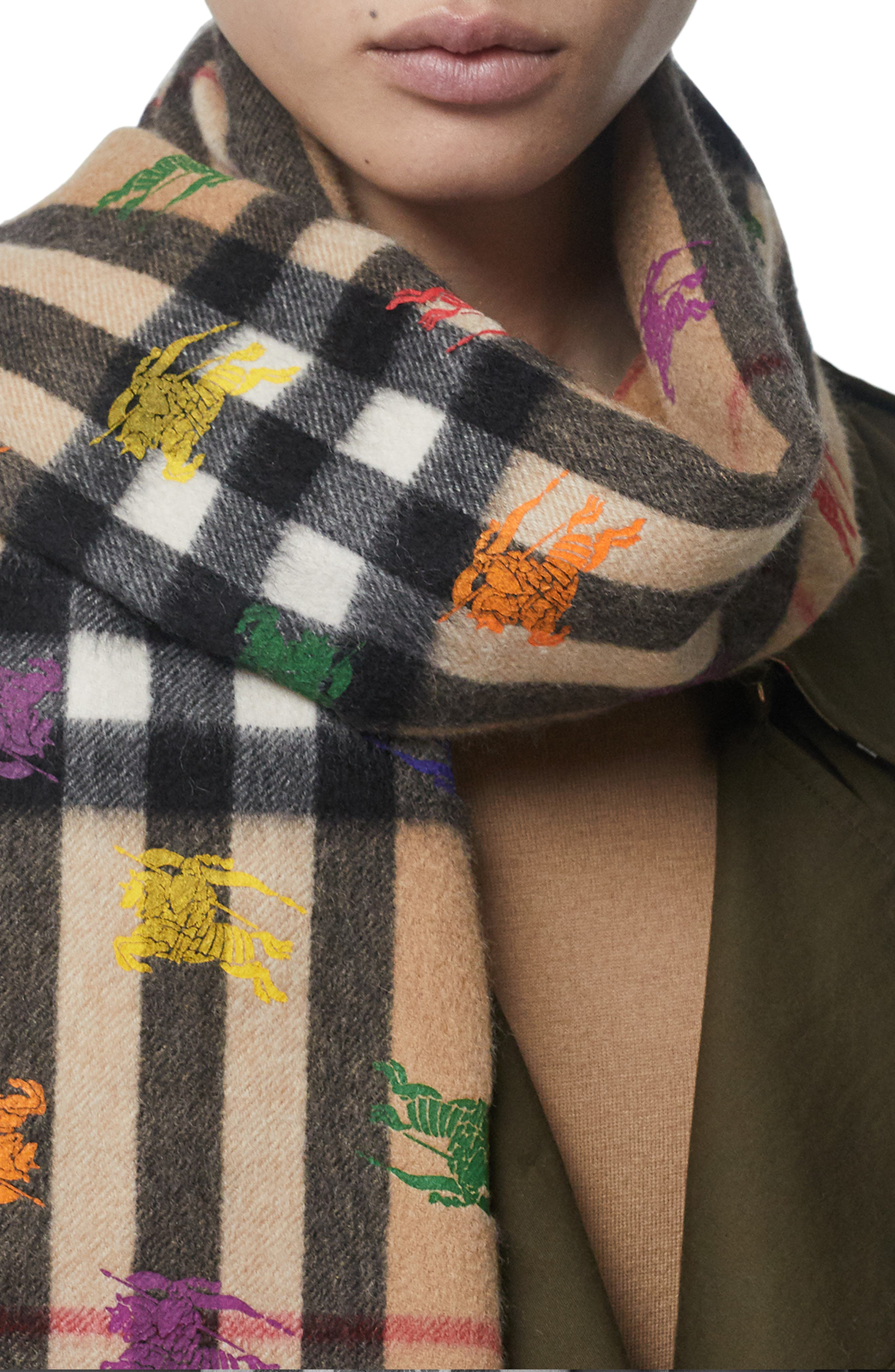 BURBERRY,                             Classic Check & Rainbow Knight Cashmere Scarf,                             Alternate thumbnail 5, color,                             CAMEL