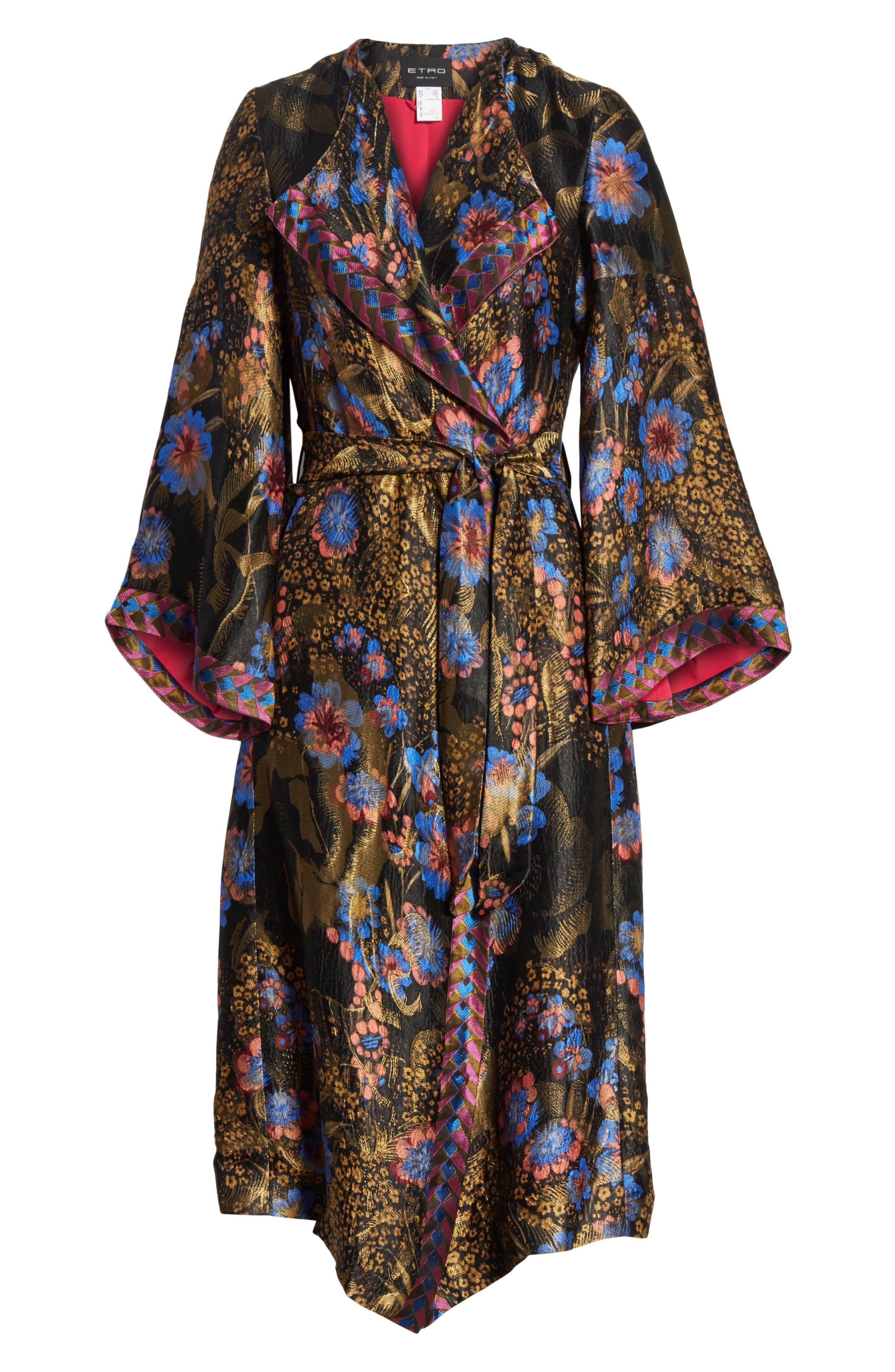 Metallic Floral Silk Blend Topper,                             Alternate thumbnail 5, color,                             001