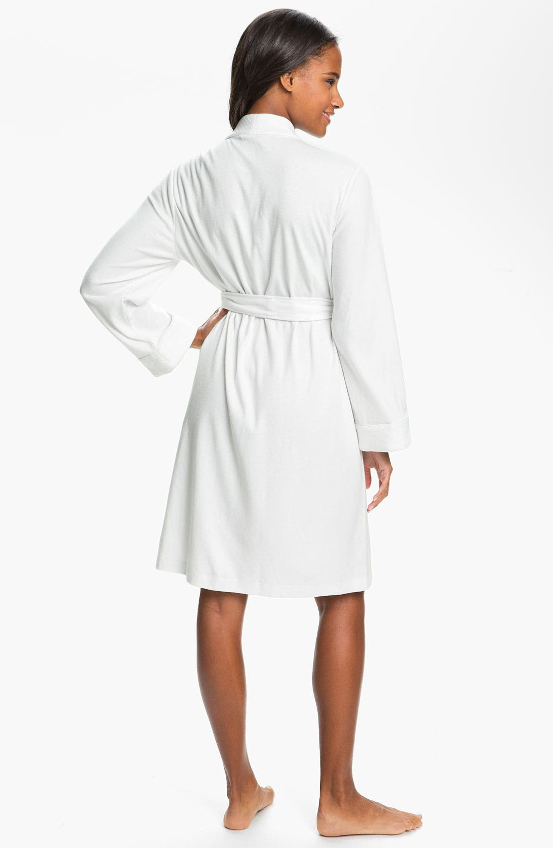 Quilted Collar Robe,                             Alternate thumbnail 5, color,                             WHITE
