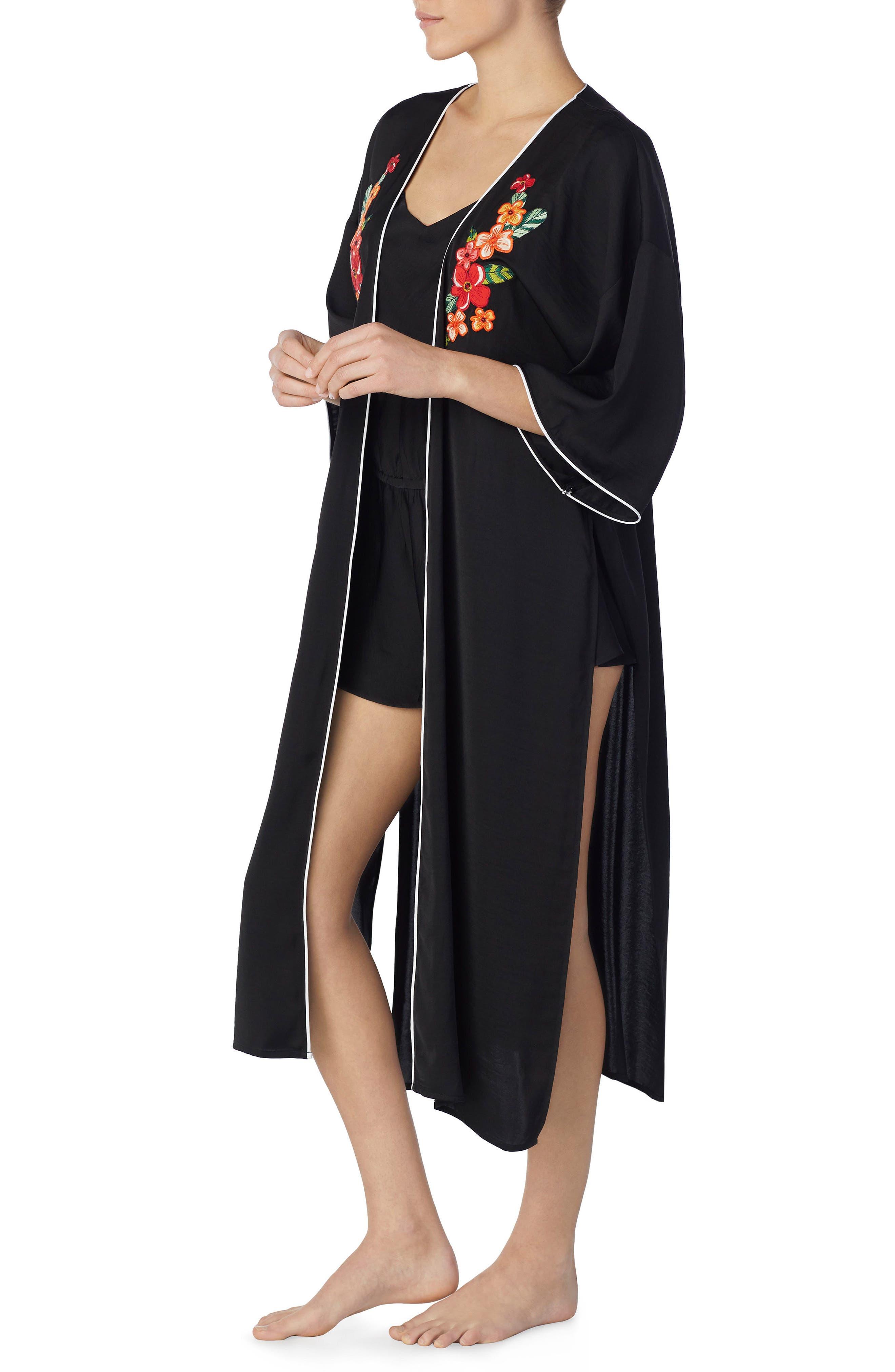 Tie Front Satin Kimono,                             Alternate thumbnail 4, color,                             001