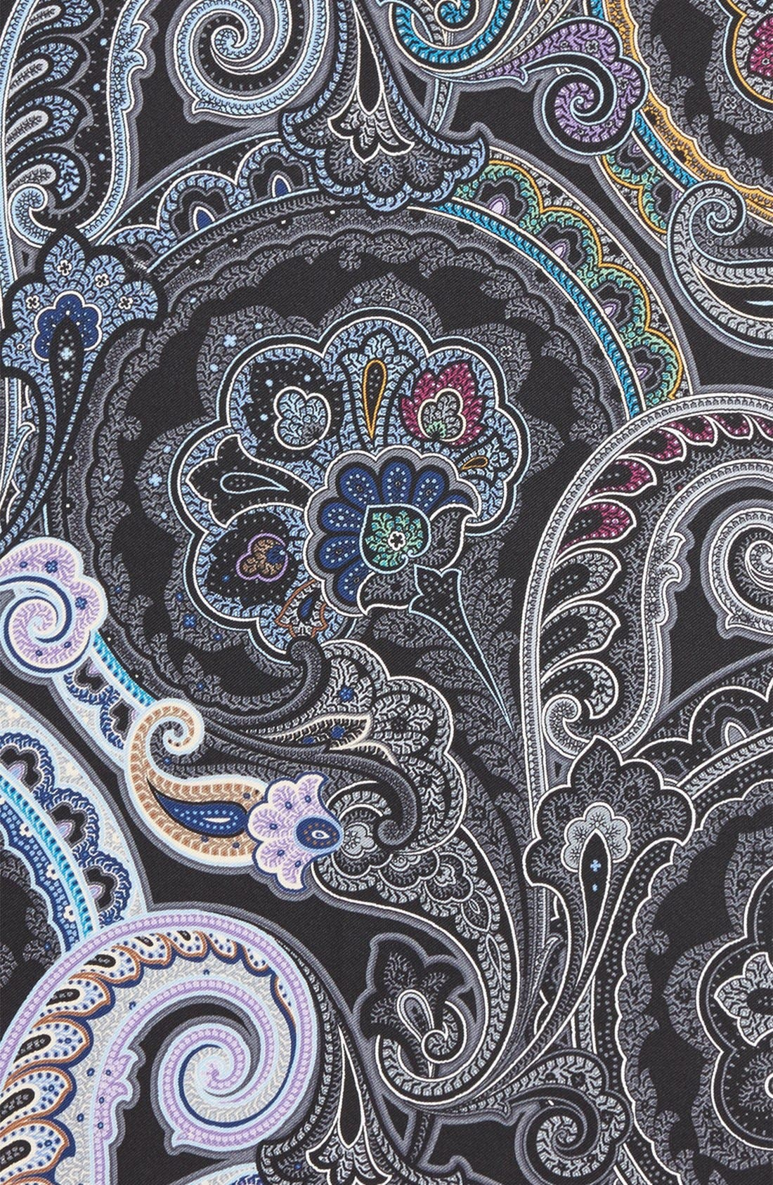 Paisley Silk Pocket Square,                             Alternate thumbnail 3, color,                             BLACK