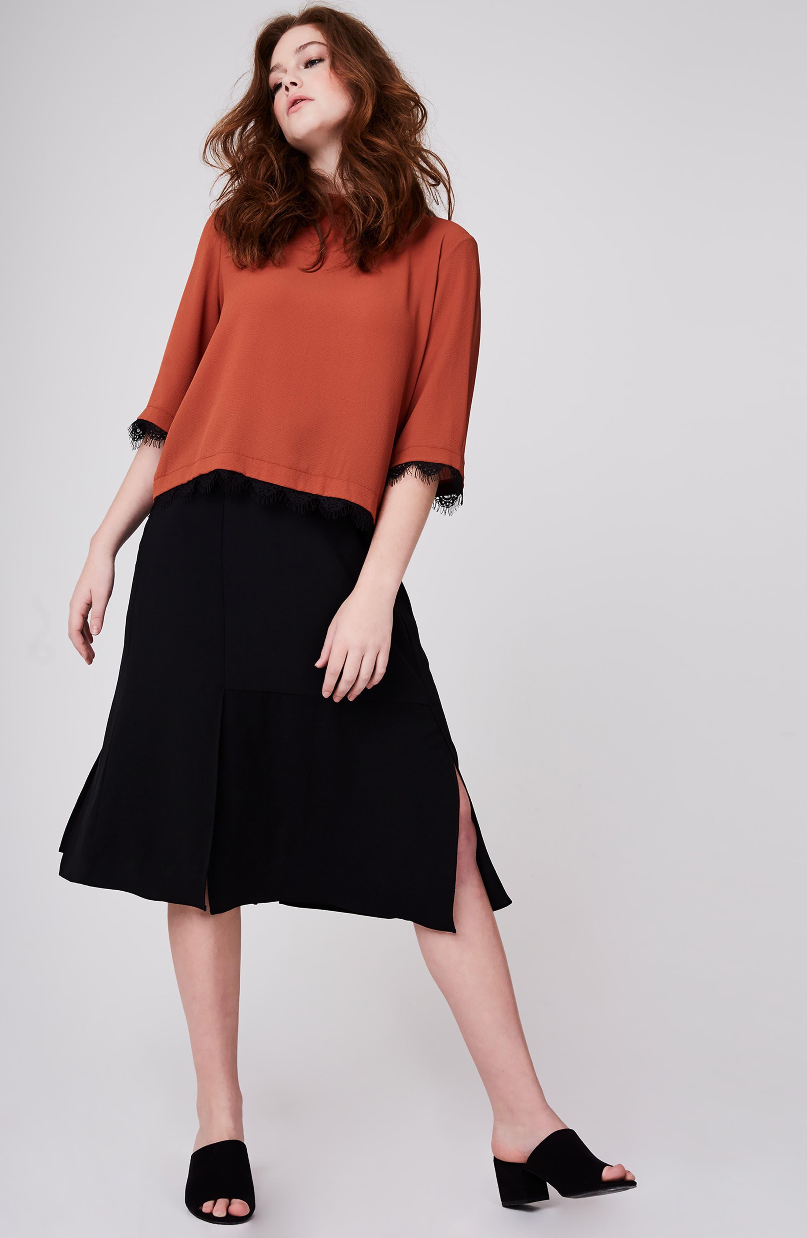Slit A-Line Skirt,                             Alternate thumbnail 3, color,                             001