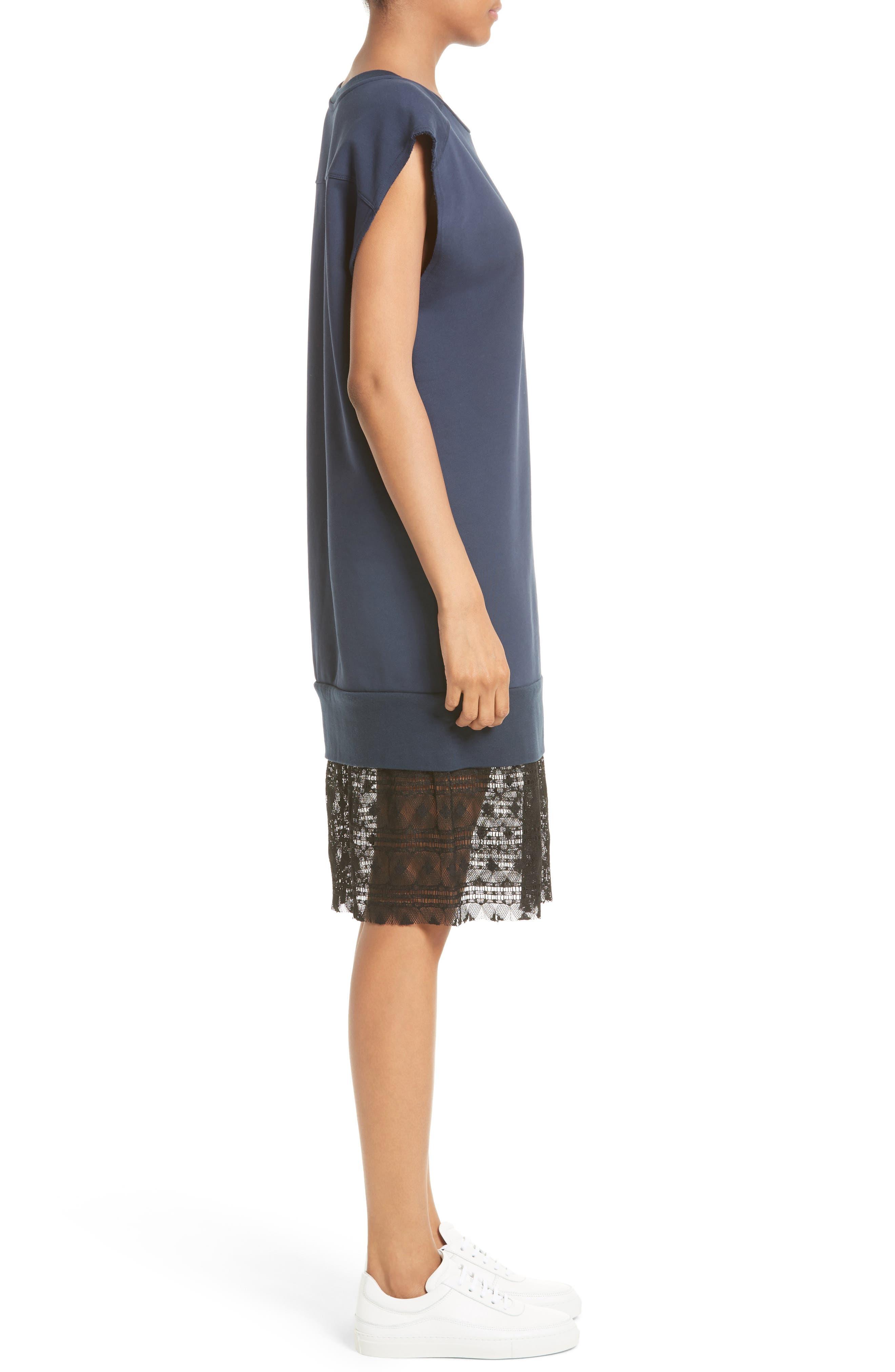 Tesa Lace Trim Sweatshirt Dress,                             Alternate thumbnail 3, color,                             400