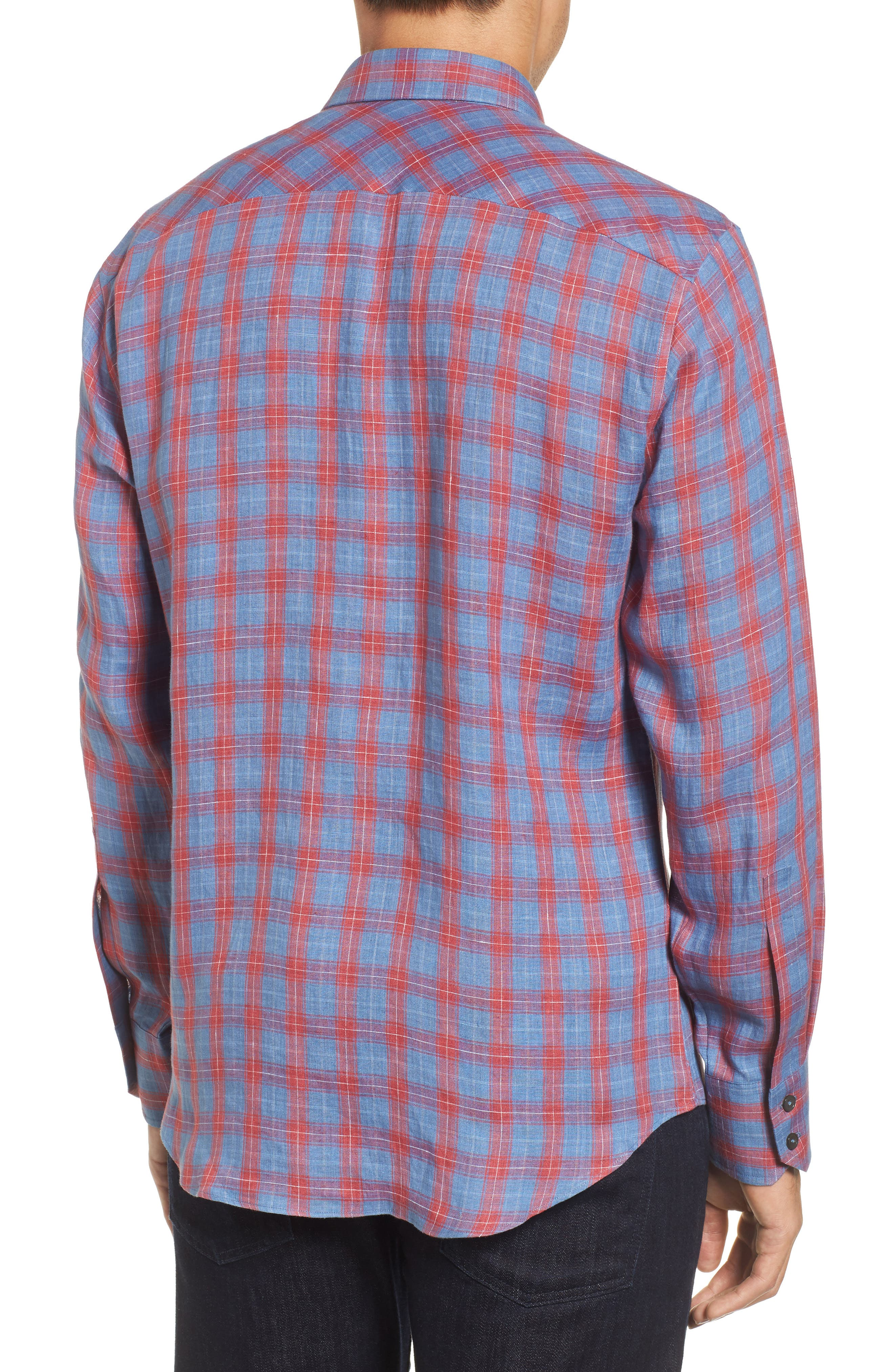 Liam Plaid Woven Sport Shirt,                             Alternate thumbnail 2, color,                             RED