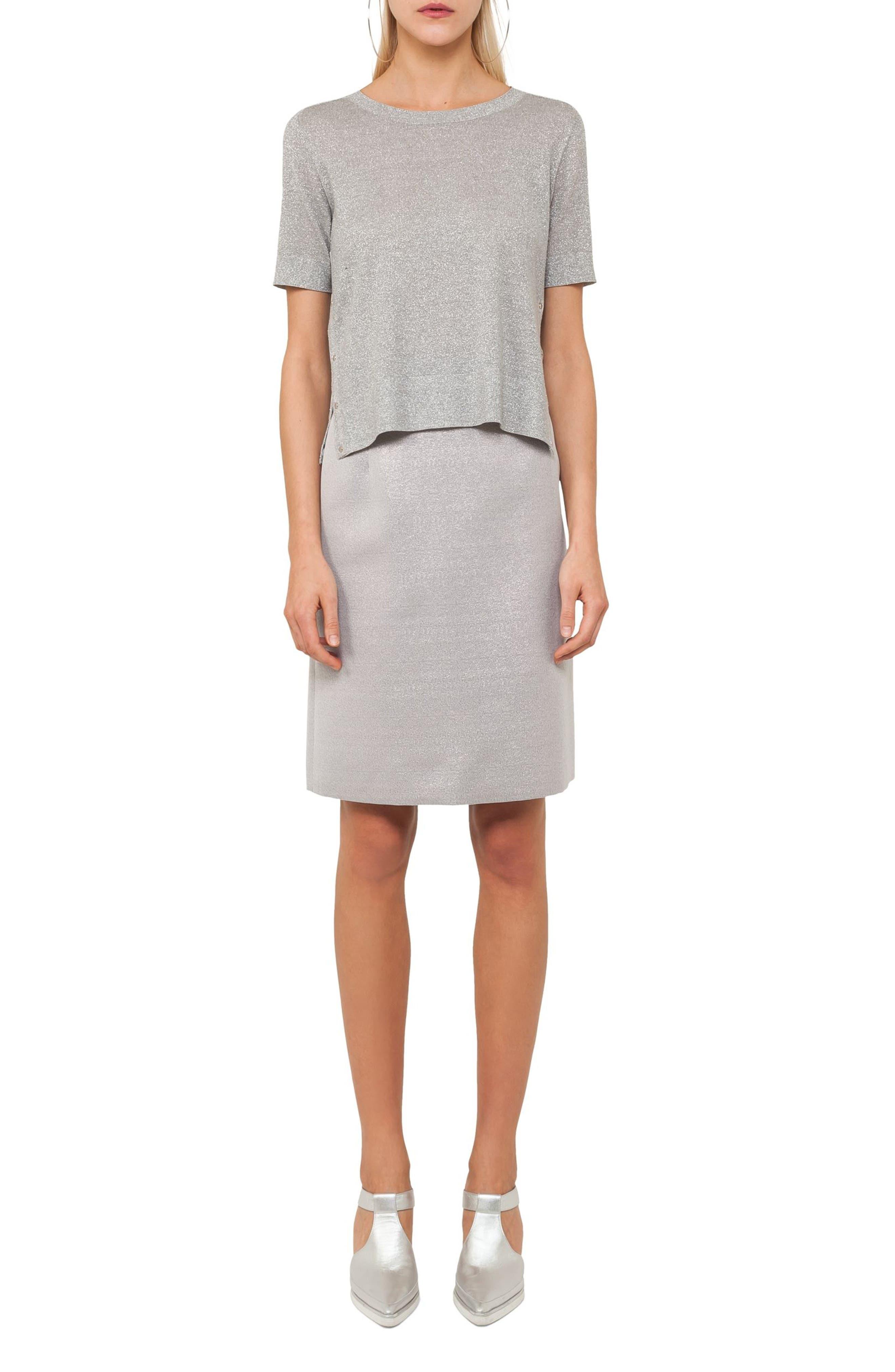 Metallic A-Line Skirt,                         Main,                         color,